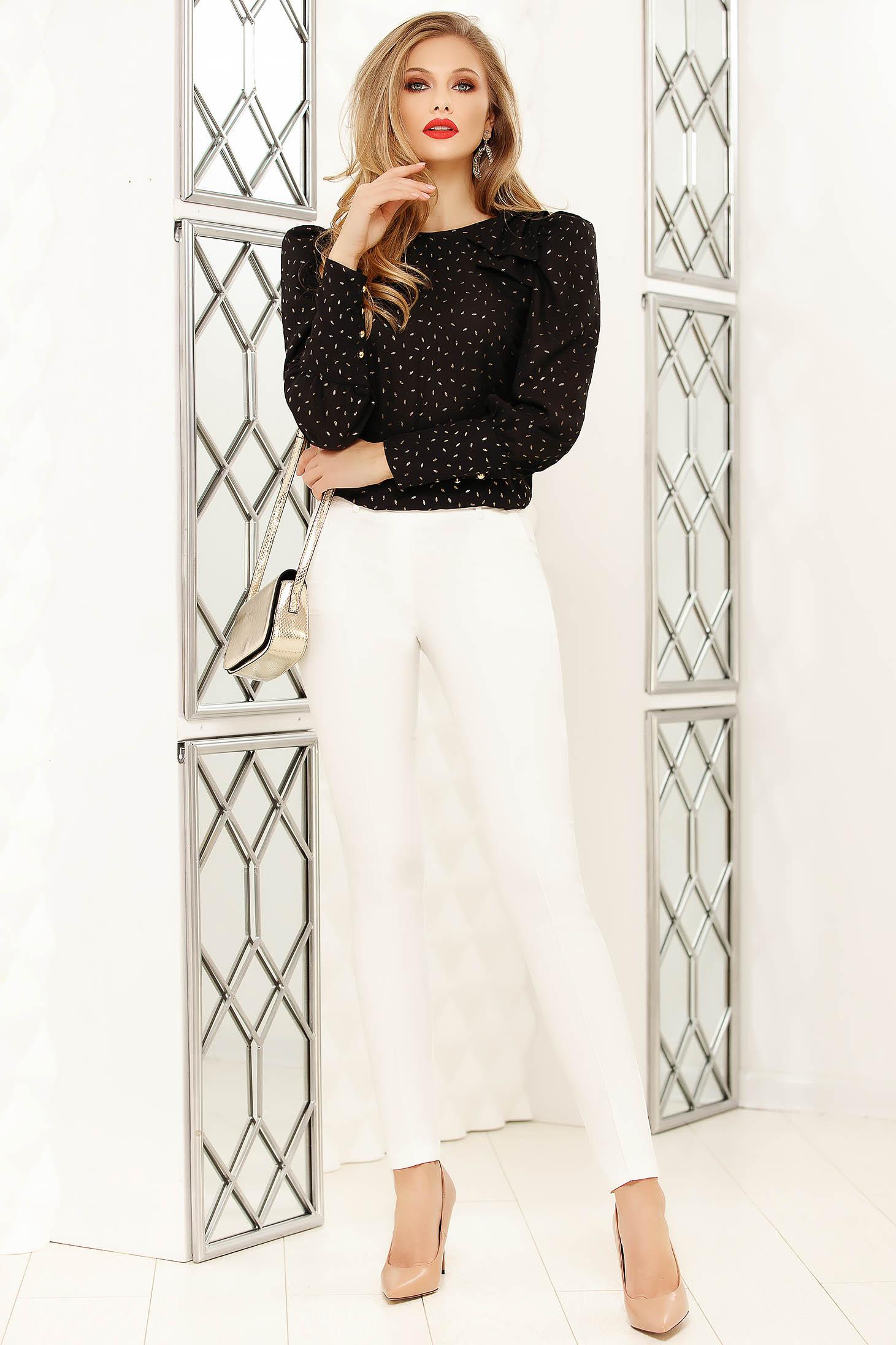 Pantaloni Fofy albi eleganti cu un croi drept cu talie medie cu accesoriu tip curea