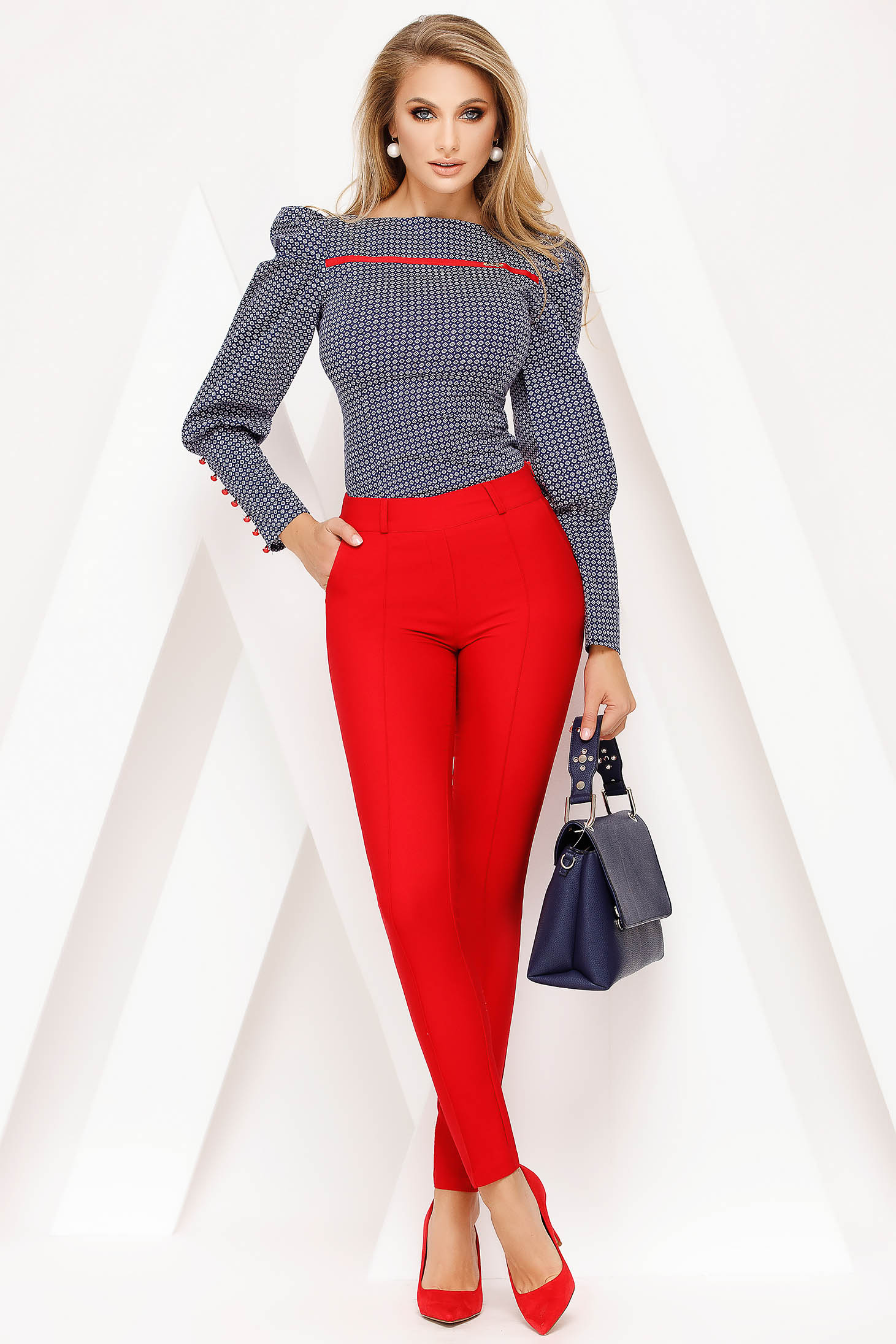 Red trousers elegant conical medium waist accessorized with belt
