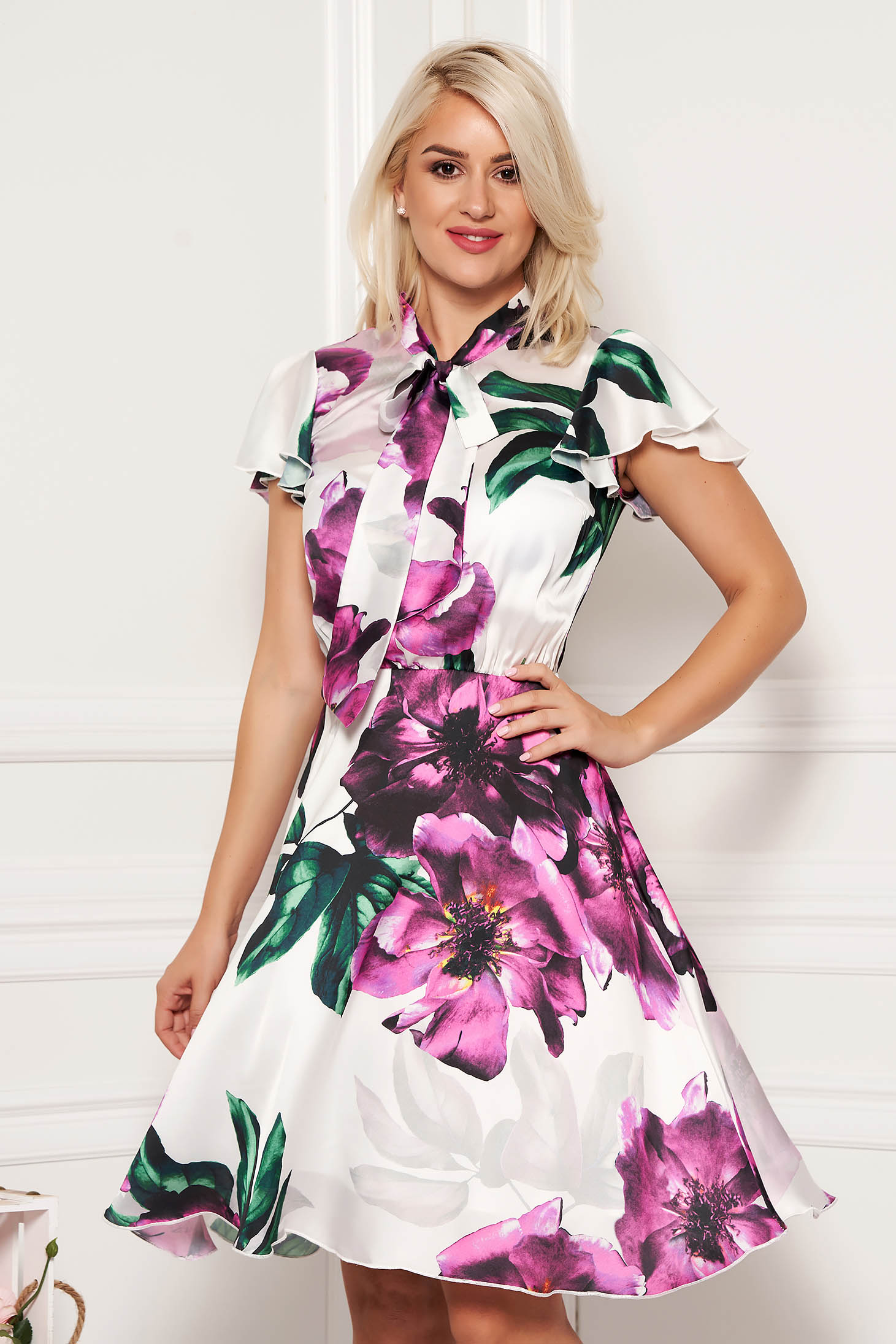 Daily cloche purple dress from veil fabric with turtle neck with butterfly sleeves with floral print