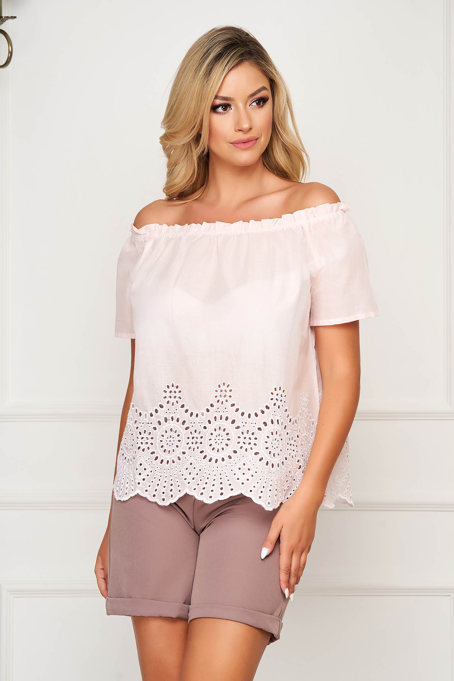 Lightpink women`s blouse casual cotton flared short sleeves on the shoulders