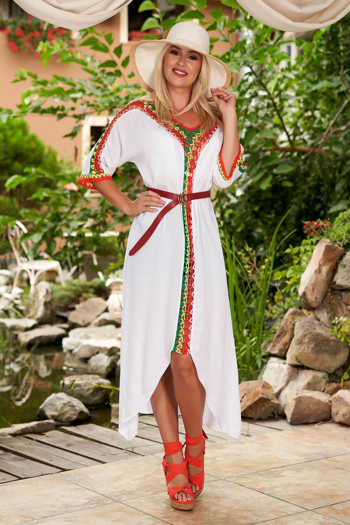 Fehér casual háromnegyedes ujjú bő szabású ruha pamutból