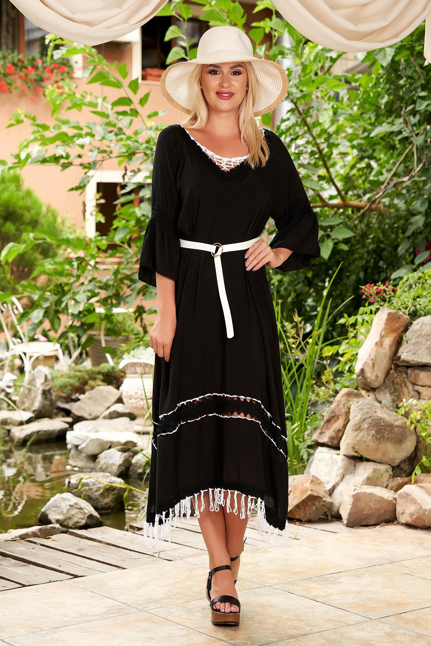 Fekete bő szabású pamutból készült strandi ruha harang ujjakkal