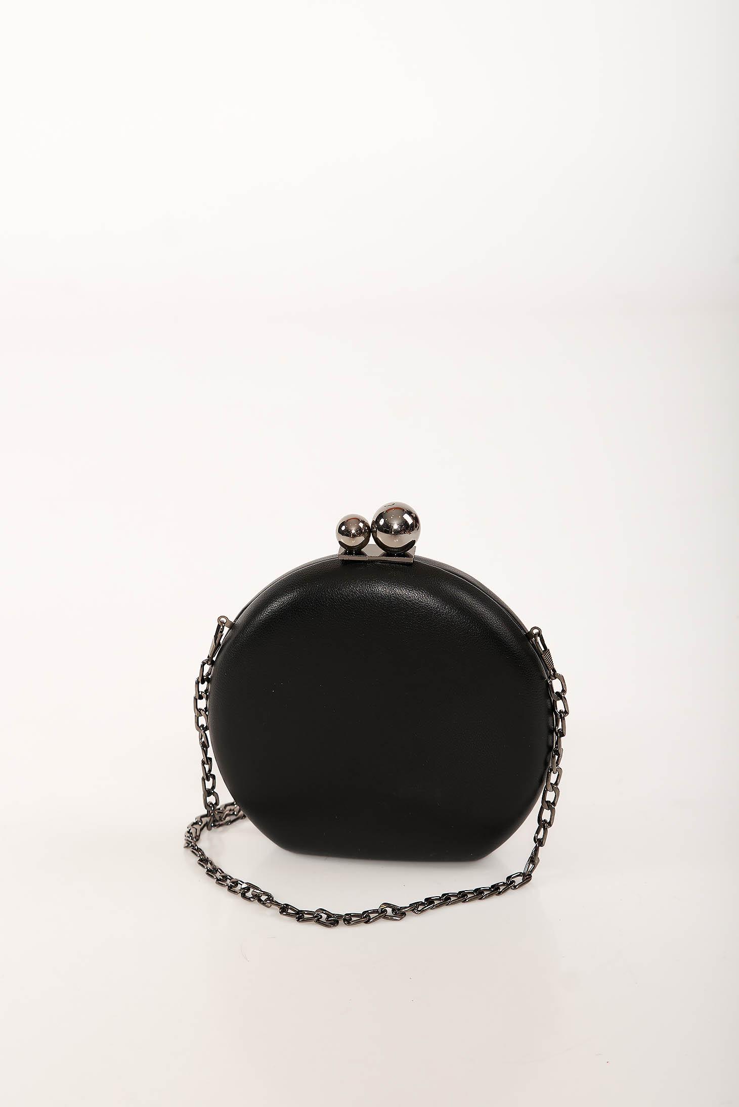 Geanta dama neagra de ocazie din imitatie de piele cu maner lung tip lantisor