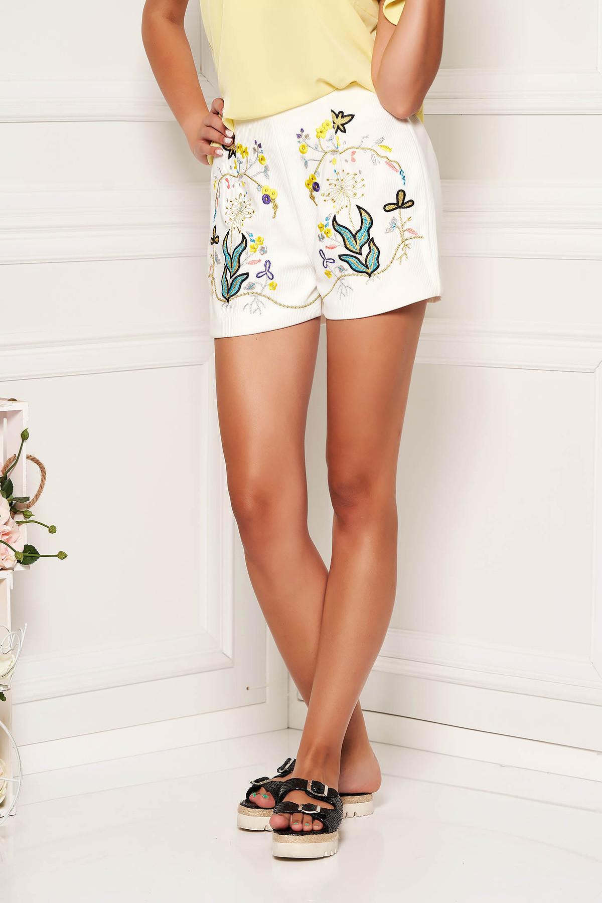 Pantalon scurt SunShine ivoire casual din bumbac reiat cu talie medie cu elastic