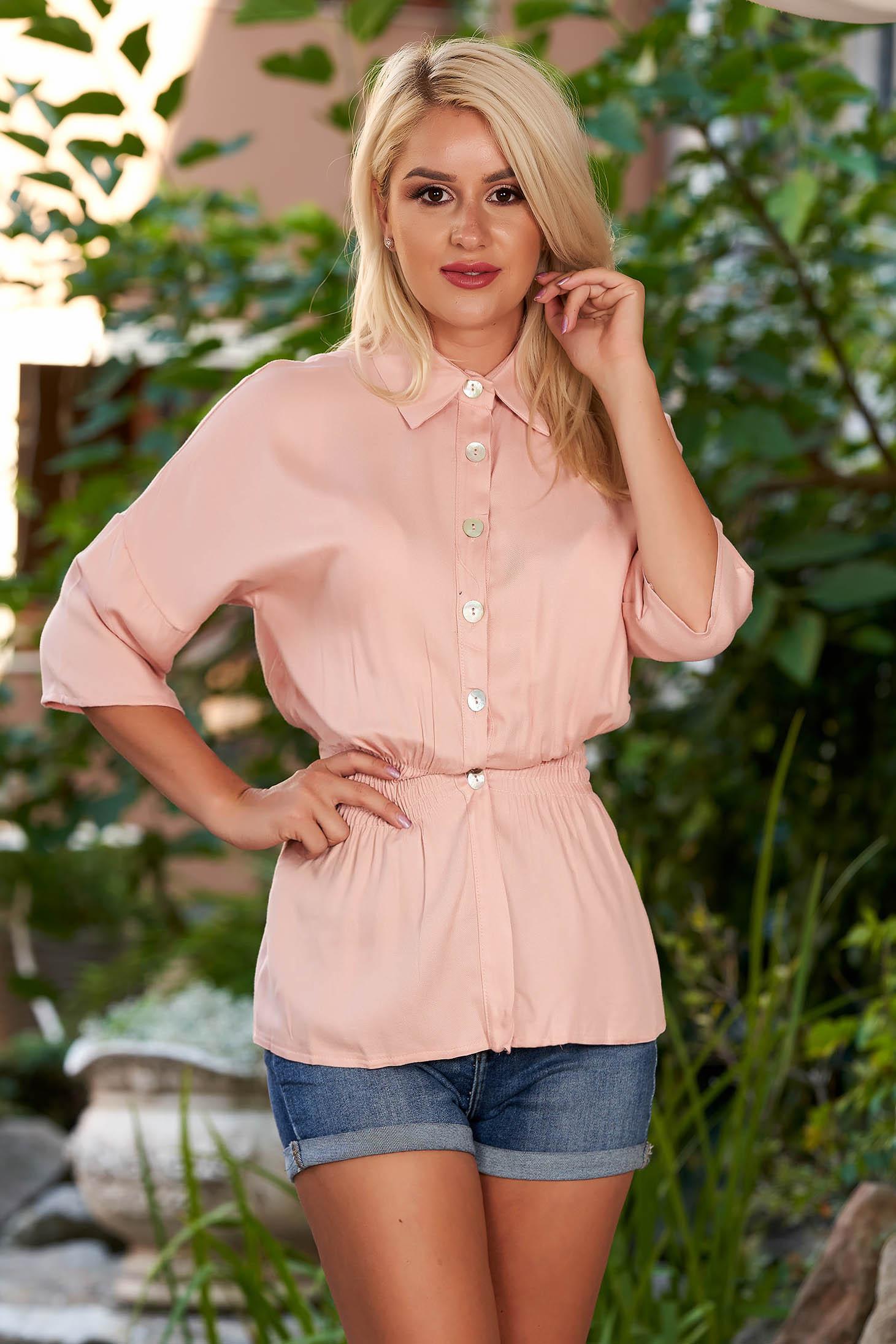 Camasa dama SunShine roz prafuit casual cu elastic in talie cu maneci trei-sferturi si guler