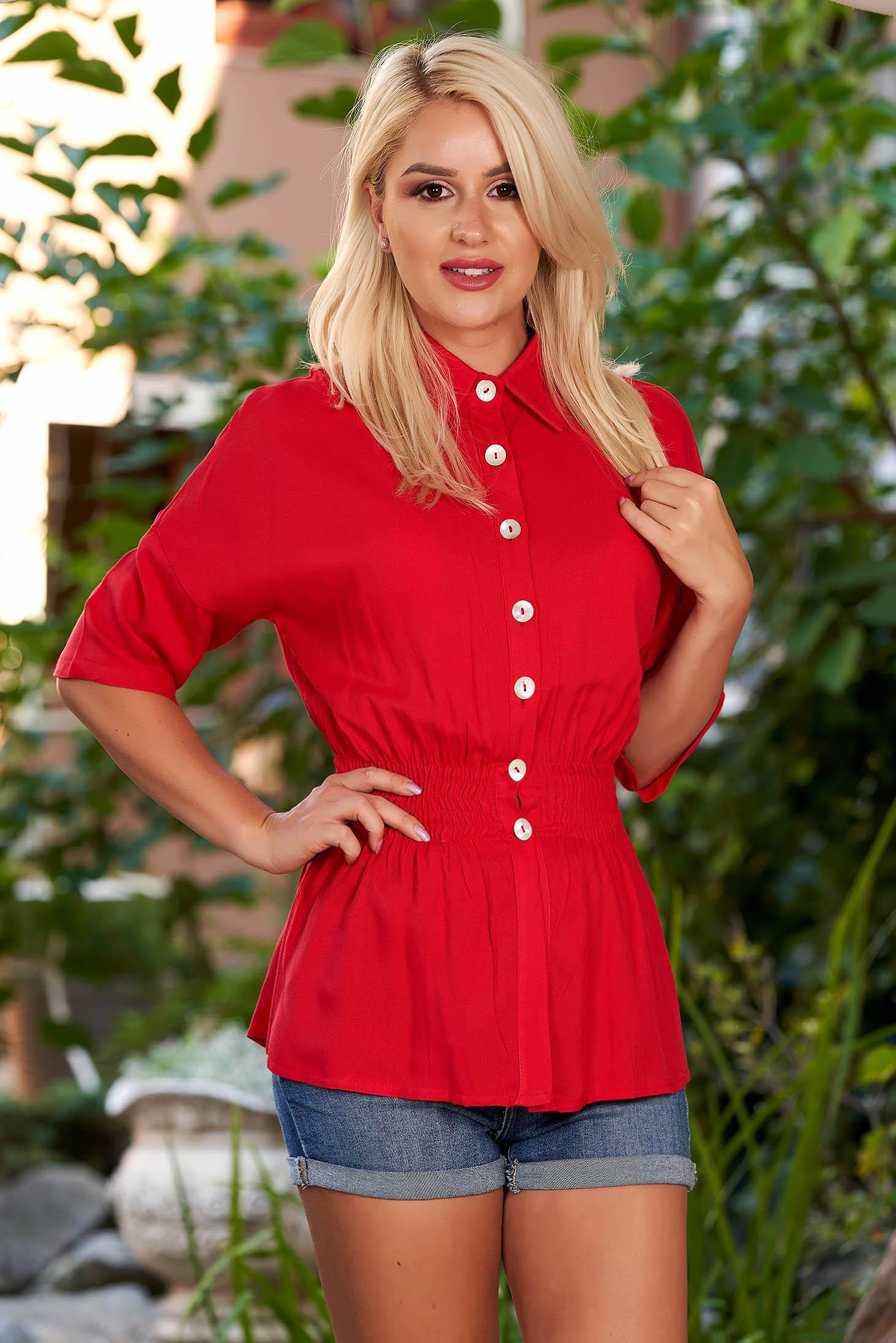Camasa dama SunShine rosie casual cu elastic in talie cu maneci trei-sferturi si guler
