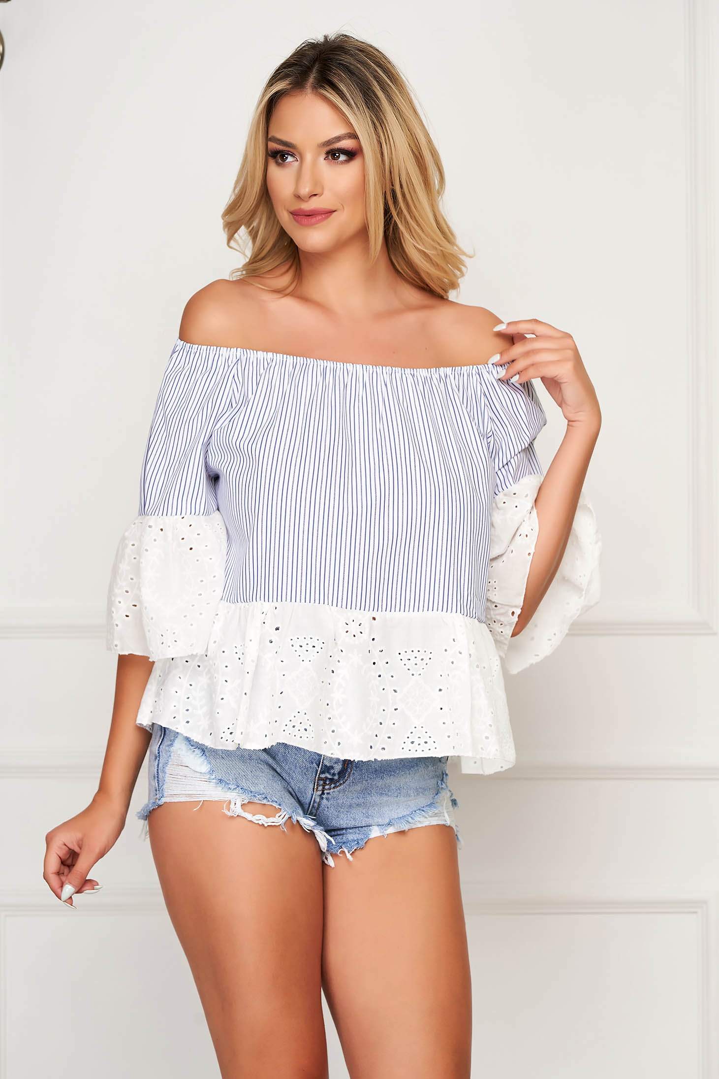 Darkblue women`s blouse casual short cut cotton with bell sleeve naked shoulders