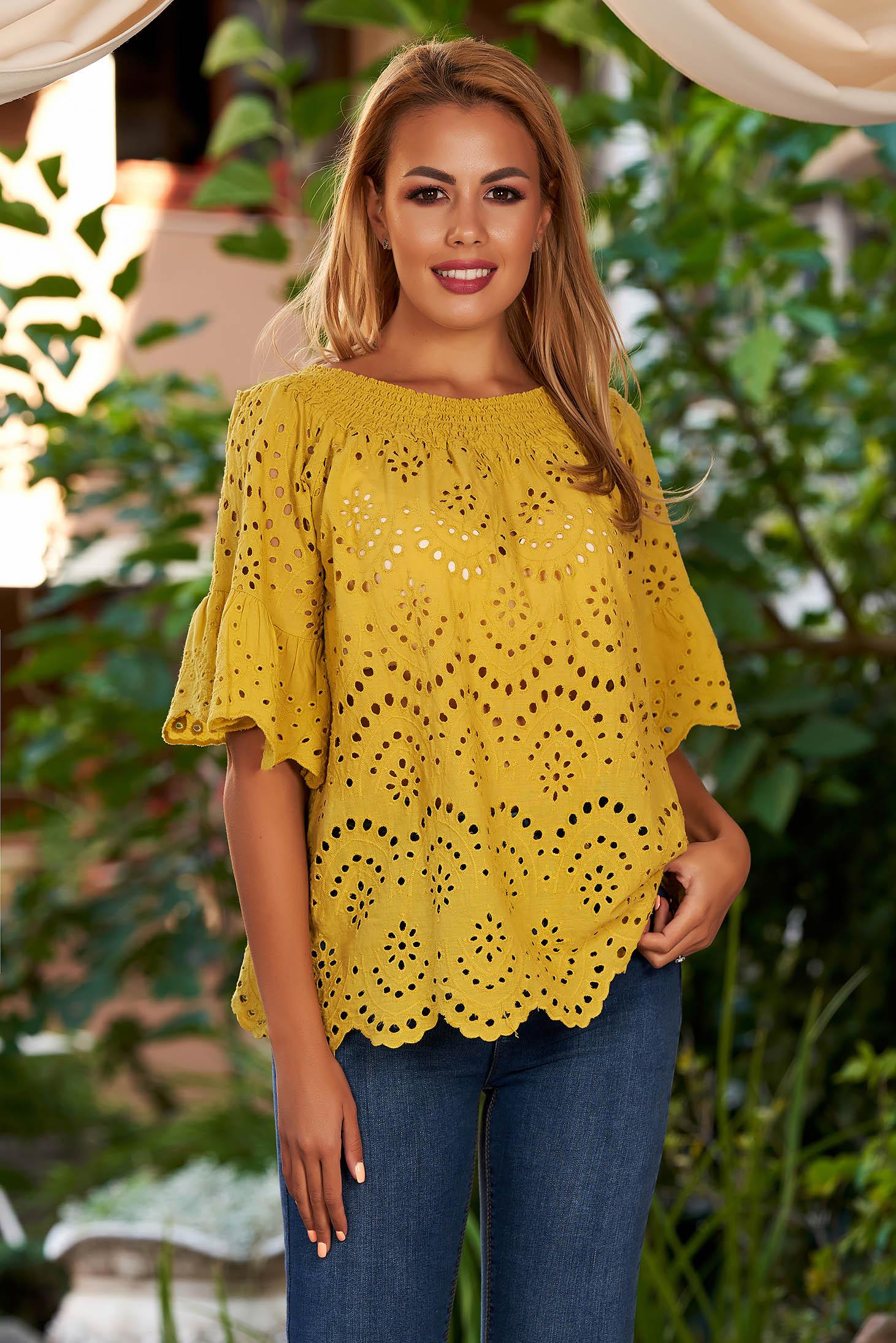 Bluza dama SunShine mustarie casual din bumbac cu croi larg umeri goi si maneci clopot