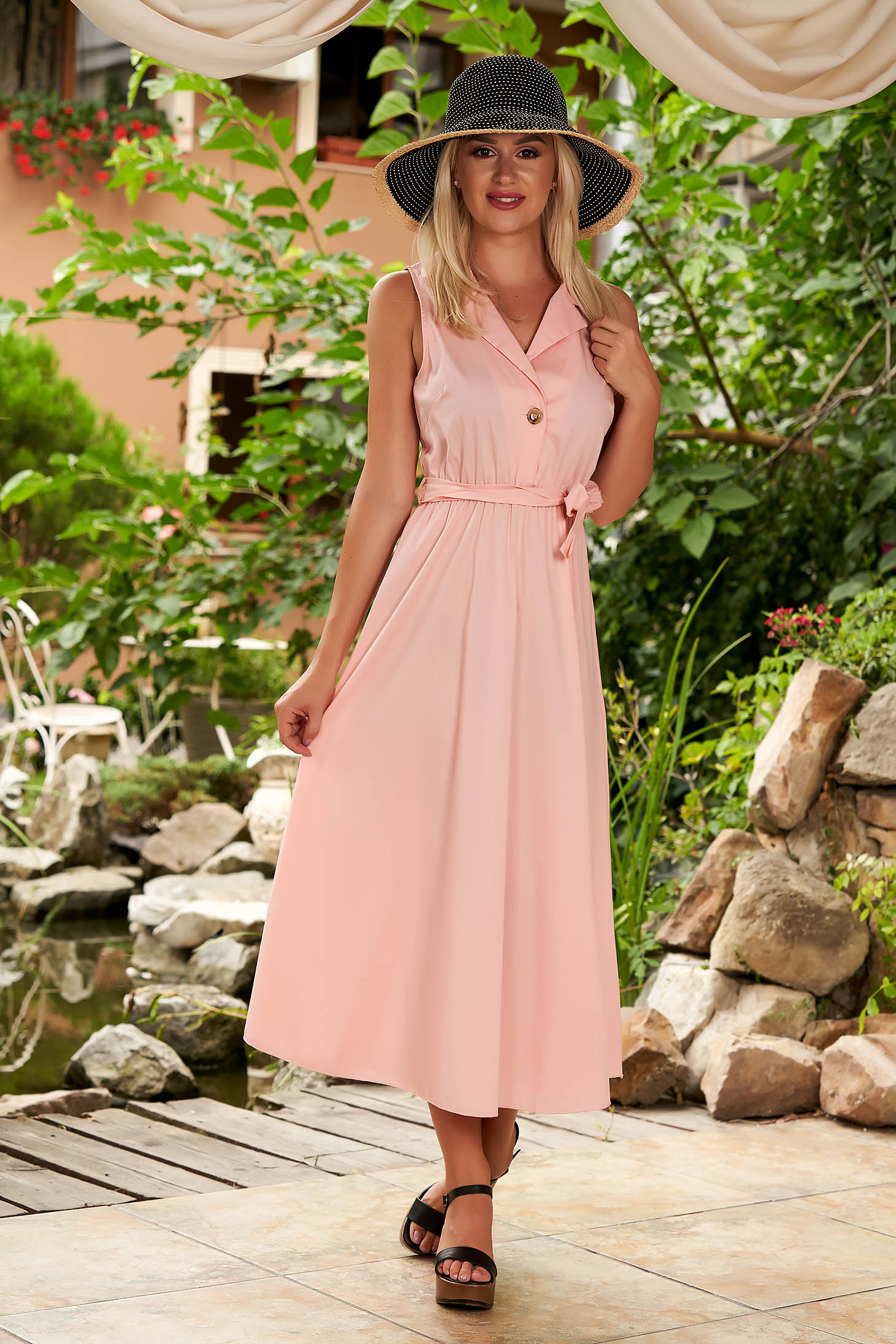 Rochie SunShine roz deschis midi de zi din bumbac in clos cu elastic in talie si cordon detasabil
