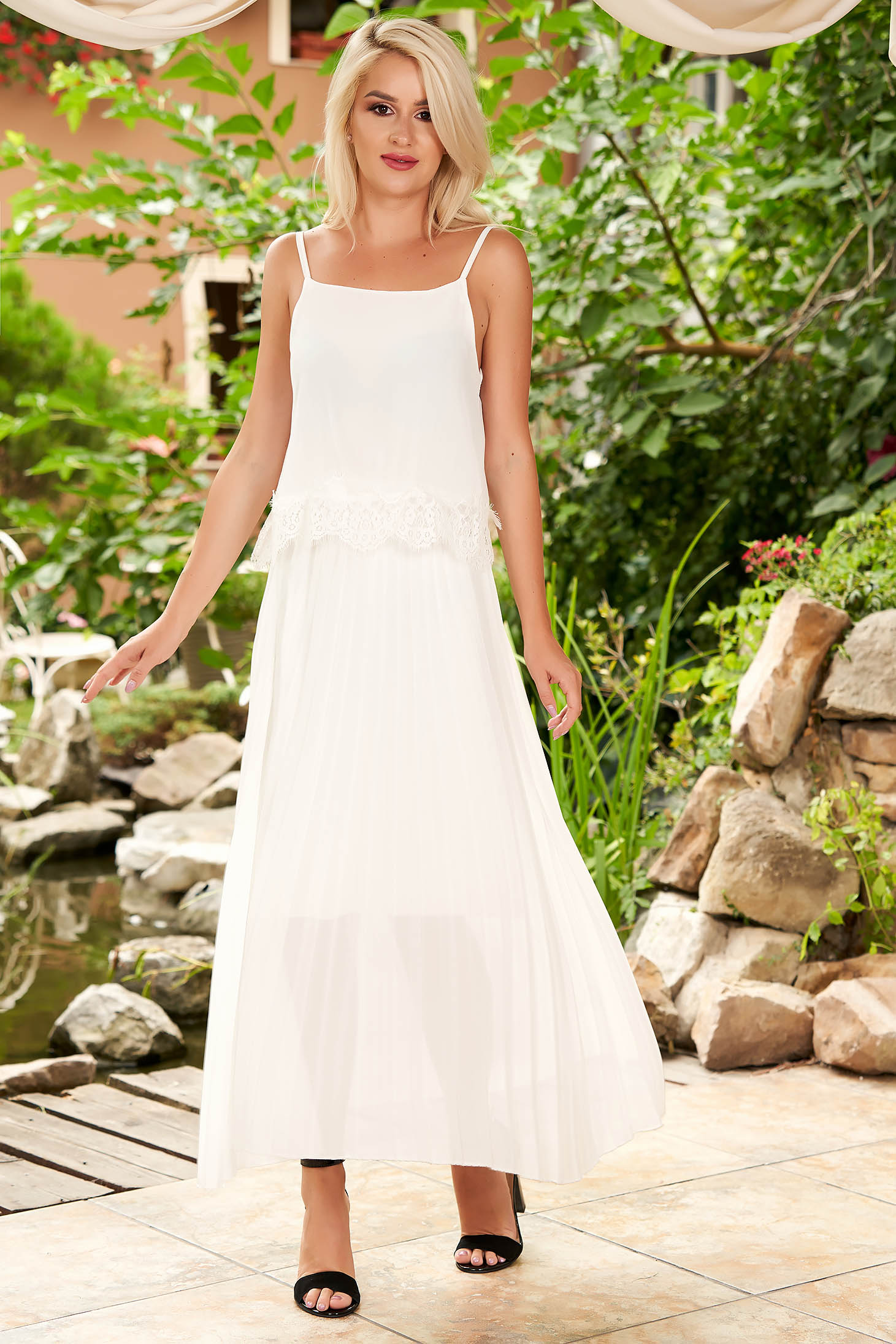 White dress daily midi flared from veil fabric folded up with straps