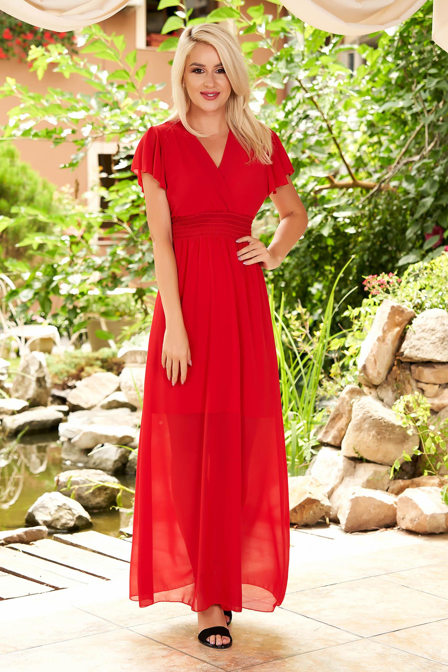 Rochie SunShine rosie rochii maxi de zi din voal cu maneci tip fluture cu decolteu in v si elastic in talie