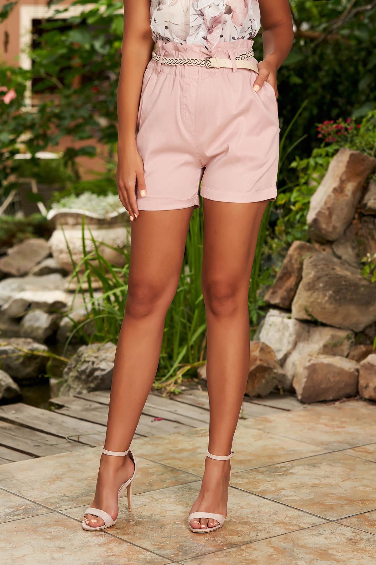 Pantalon scurt SunShine roz prafuit casual din bumbac cu croi larg cu talie inalta si buzunare