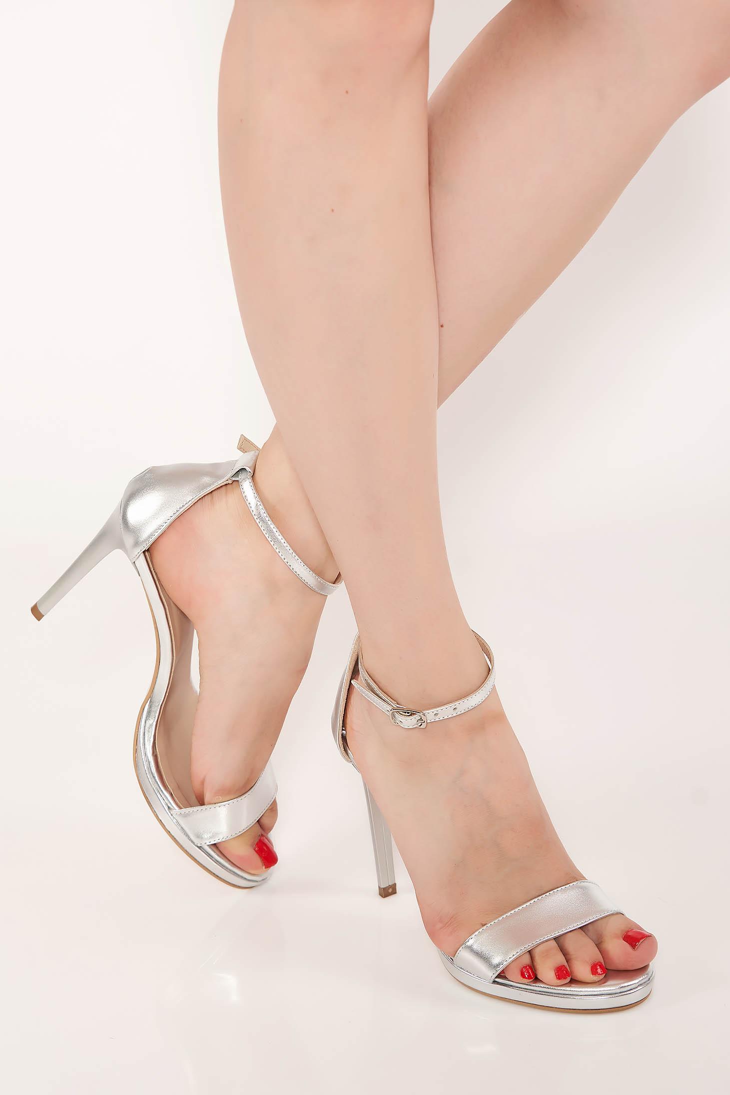 Sandale argintii elegante din piele naturala cu toc inalt de 11 cm