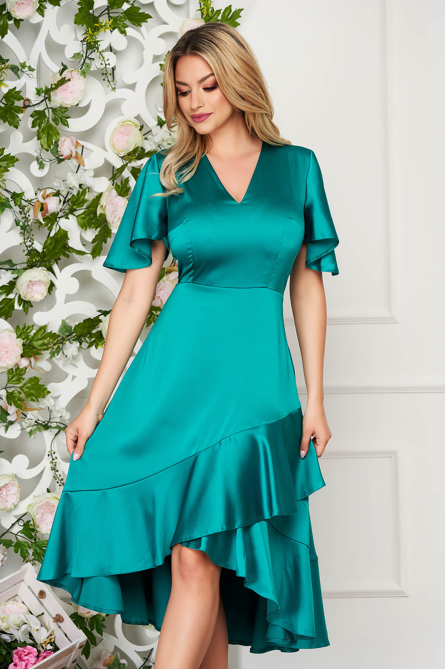 Green dress daily midi asymmetrical from satin with v-neckline with butterfly sleeves with ruffles at the buttom of the dress