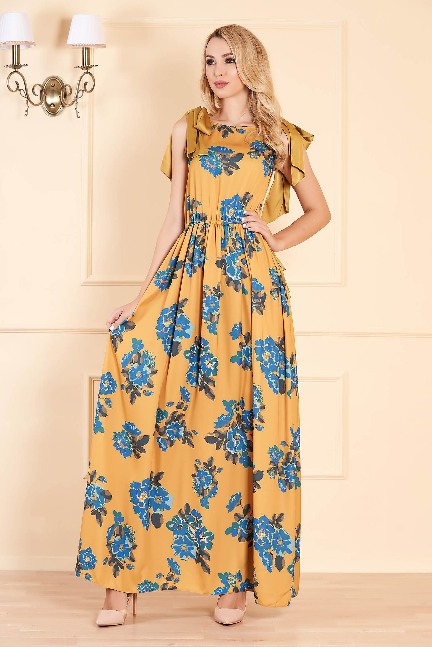Mustard dress daily maxi dresses long cloche thin fabric sleeveless is fastened around the waist with a ribbon