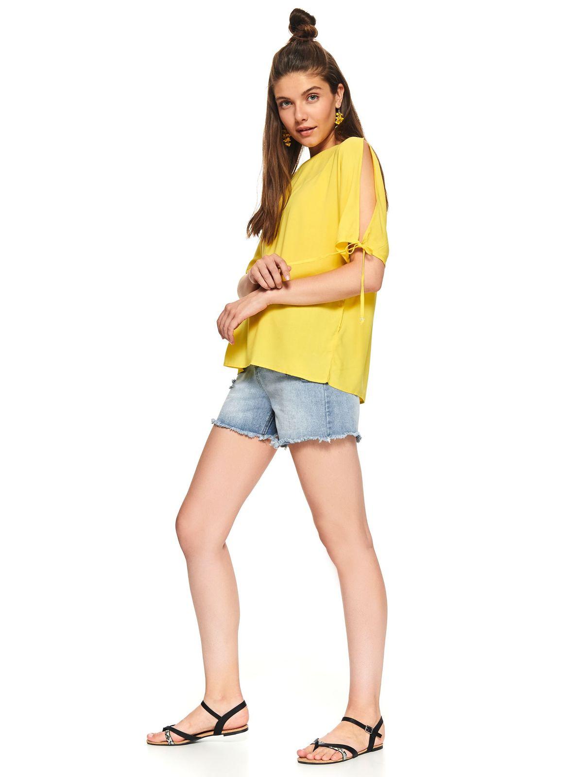 Bluza dama Top Secret galbena casual cu croi larg decolteu la baza gatului cu maneca scurta decupata
