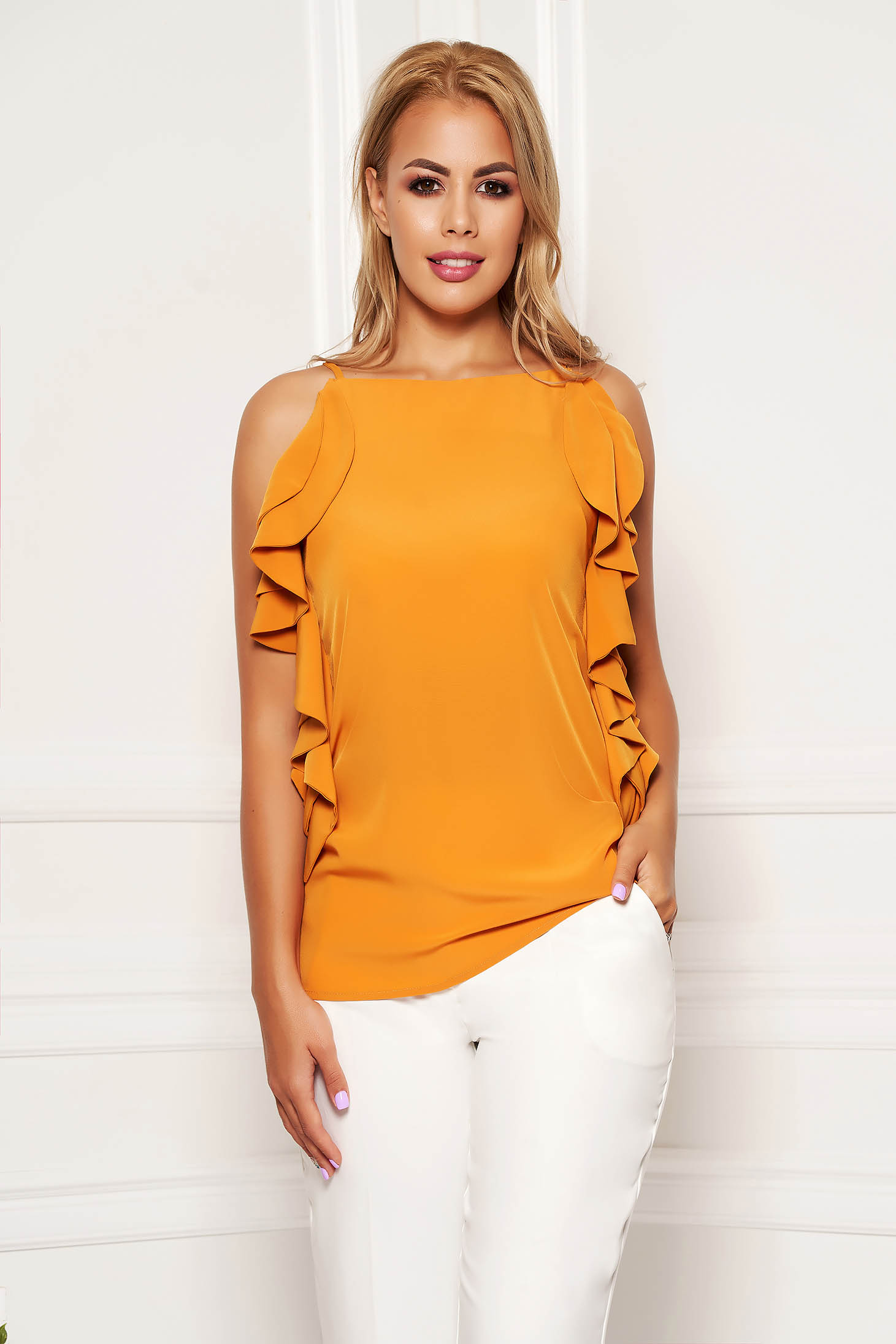 Mustard women`s blouse elegant flared with ruffle details with straps
