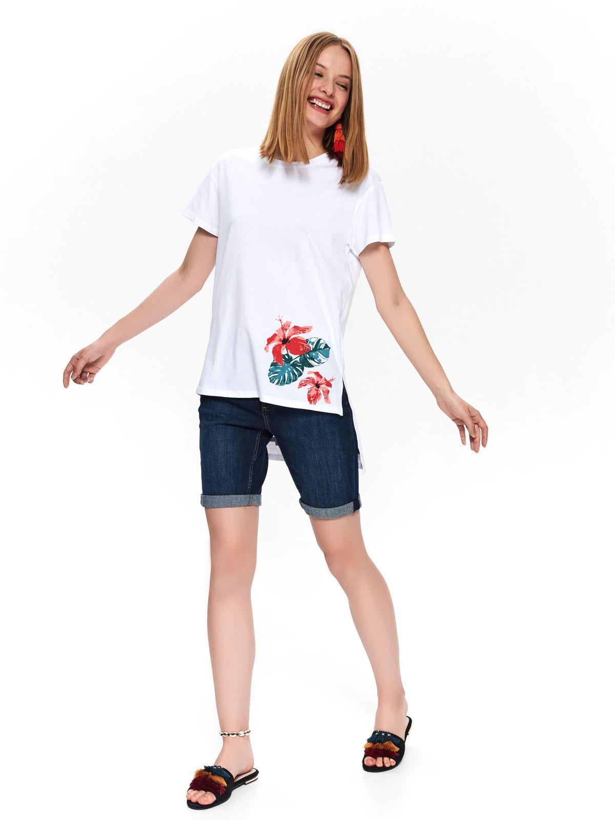 Tricou Top Secret alb casual din bumbac cu croi larg asimetric cu imprimeu floral