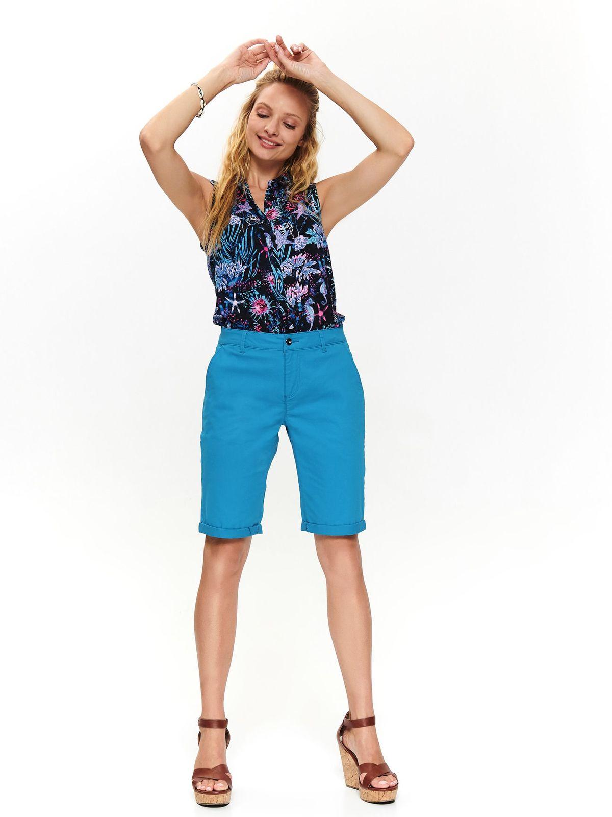 Pantalon scurt Top Secret albastru casual pana la genunchi cu talie medie si buzunare