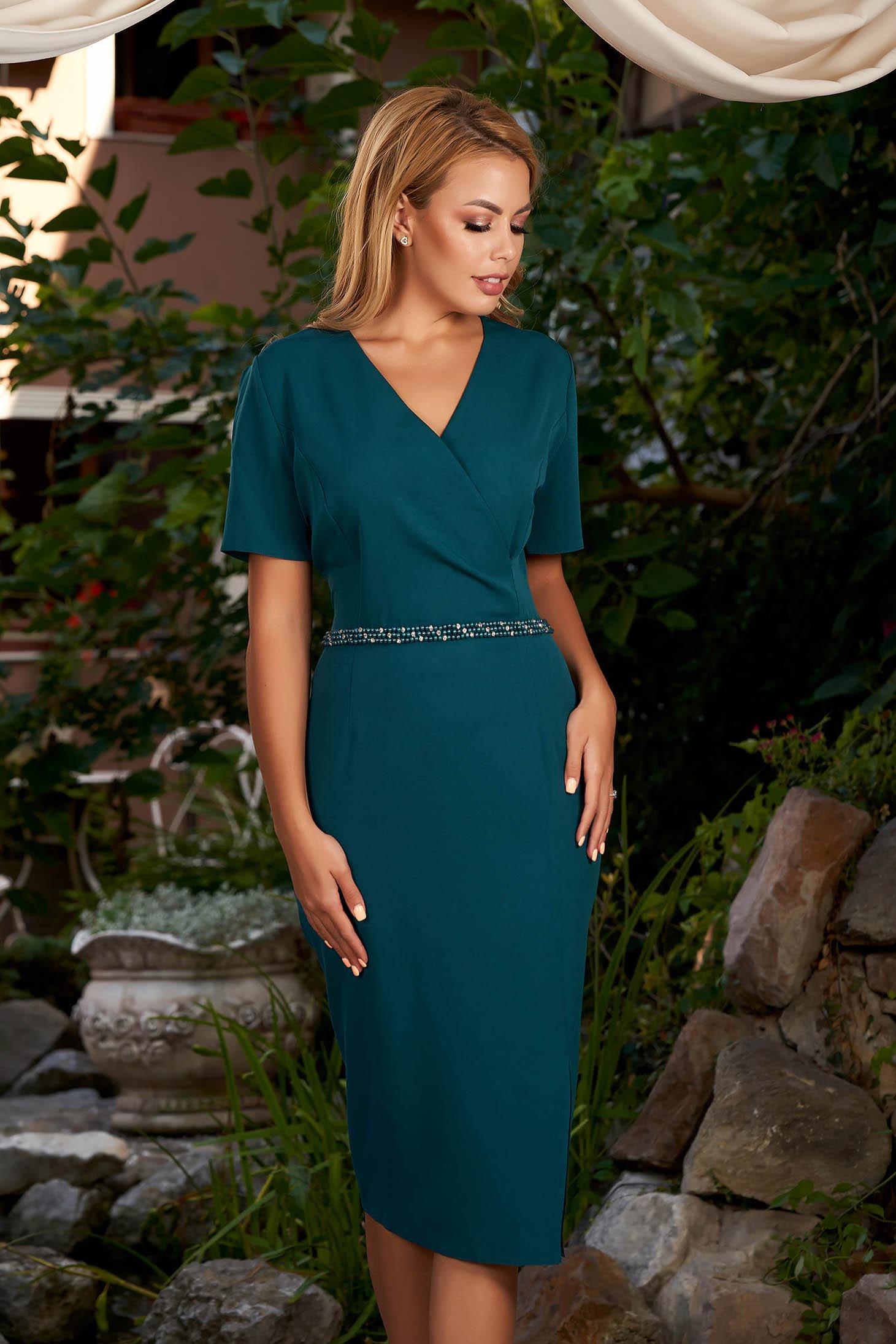 Rochie verde-inchis eleganta midi tip creion din stofa subtire cu maneci scurte