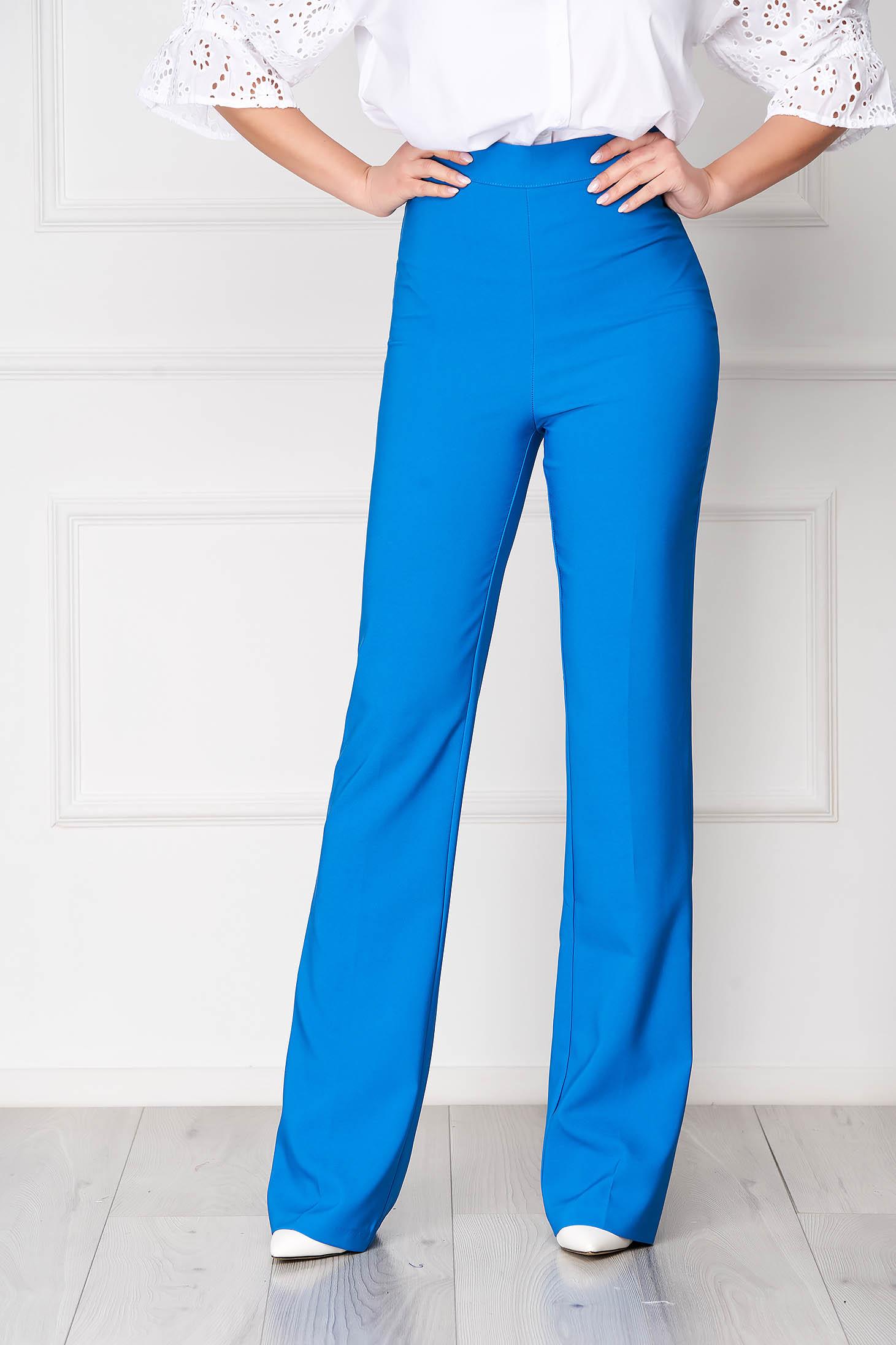 Blue trousers elegant long medium waist with easy cut