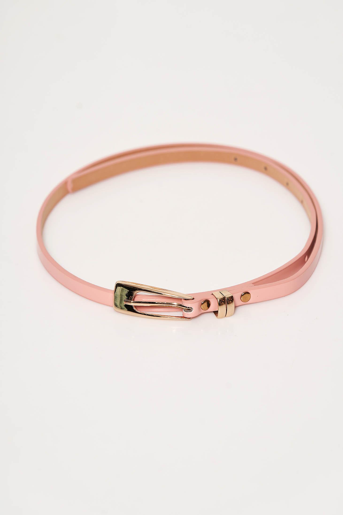 Curea StarShinerS roz prafuit din piele ecologica lacuita accesorizata cu o catarama metalica