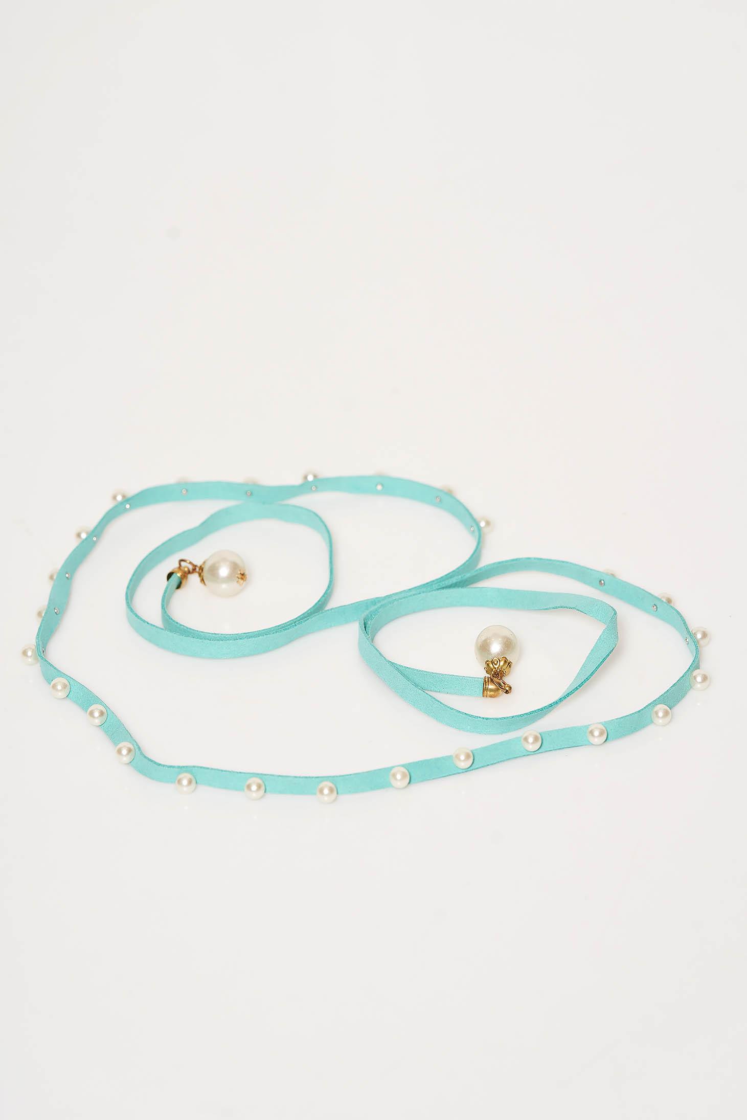Curea StarShinerS turcoaz din piele ecologica cu aplicatii cu perle care se leaga in talie