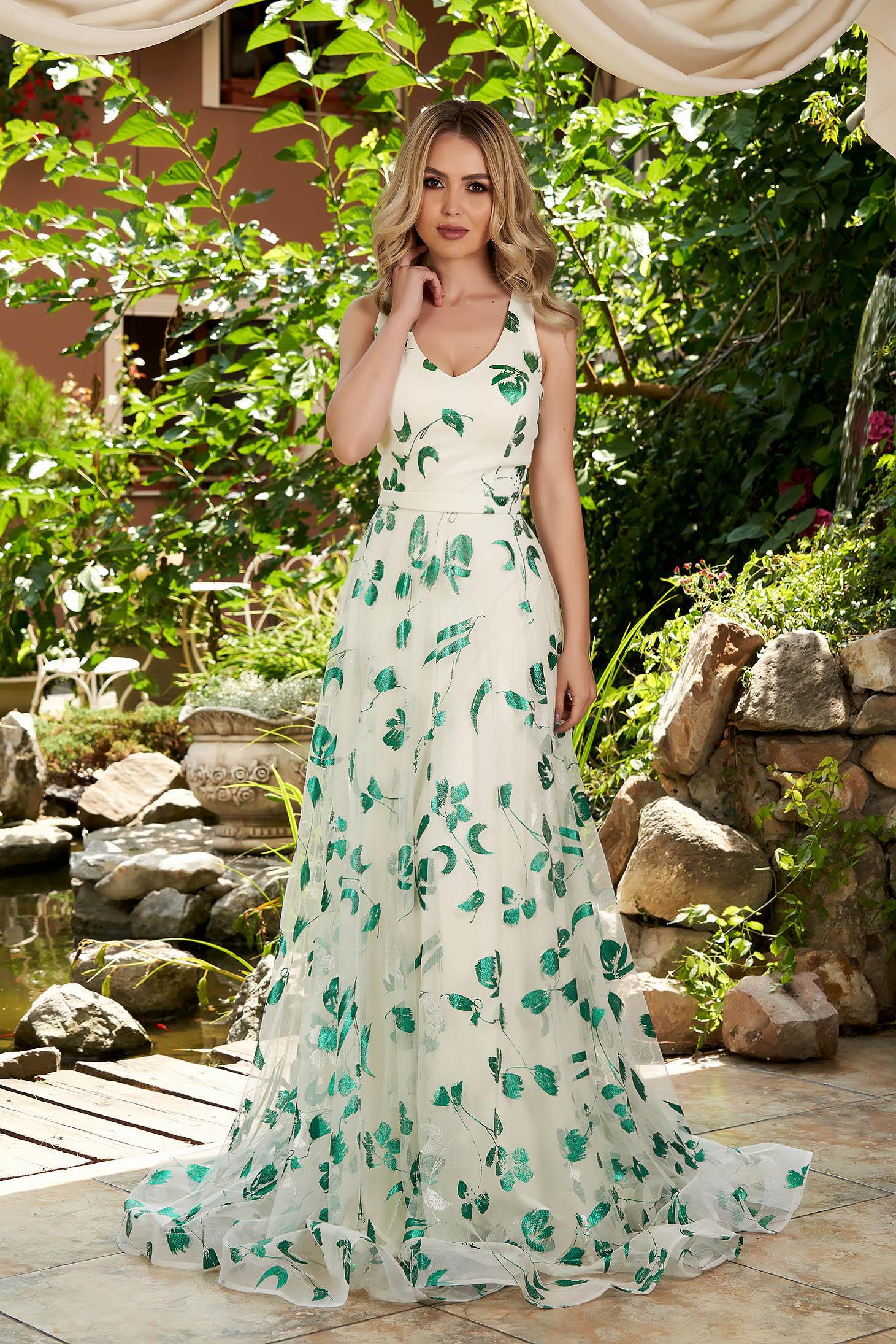 Rochie LaDonna verde de ocazie lunga din tul cu bust buretat si imprimeu floral