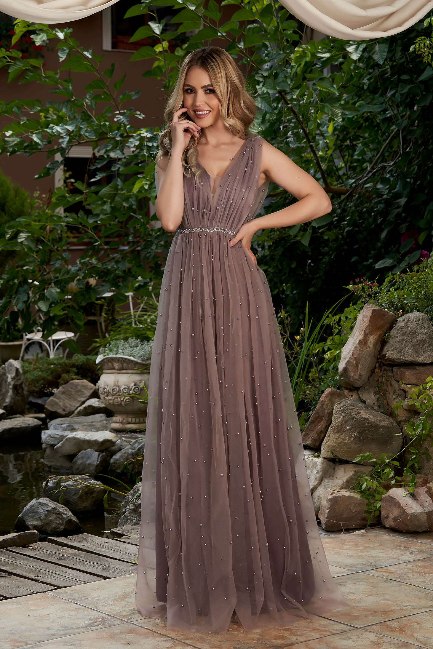 Lila dress occasional long cloche from tulle with pearls with push-up cups sleeveless