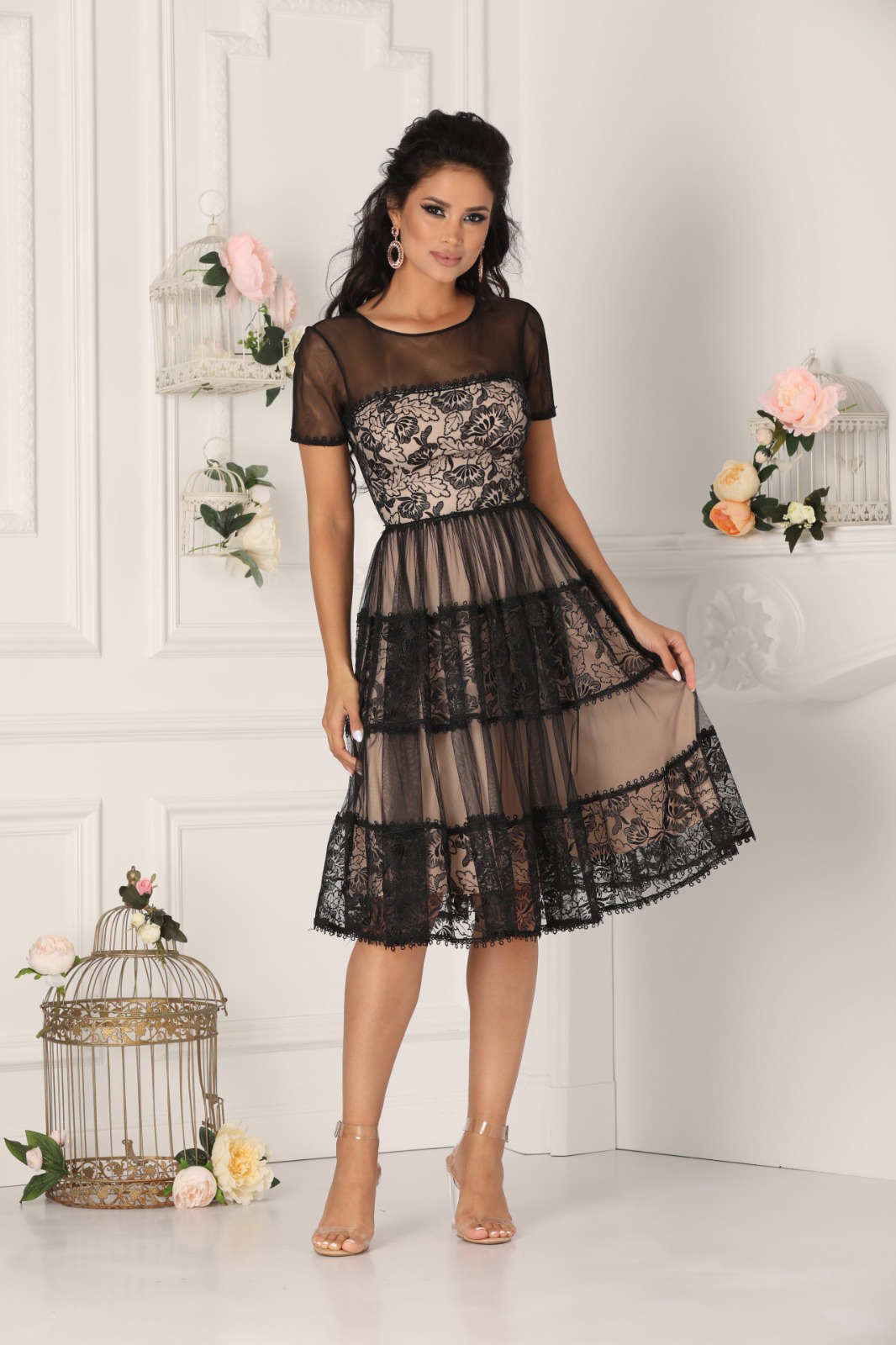 Black dress occasional midi cloche with push-up cups laced from tulle with inside lining