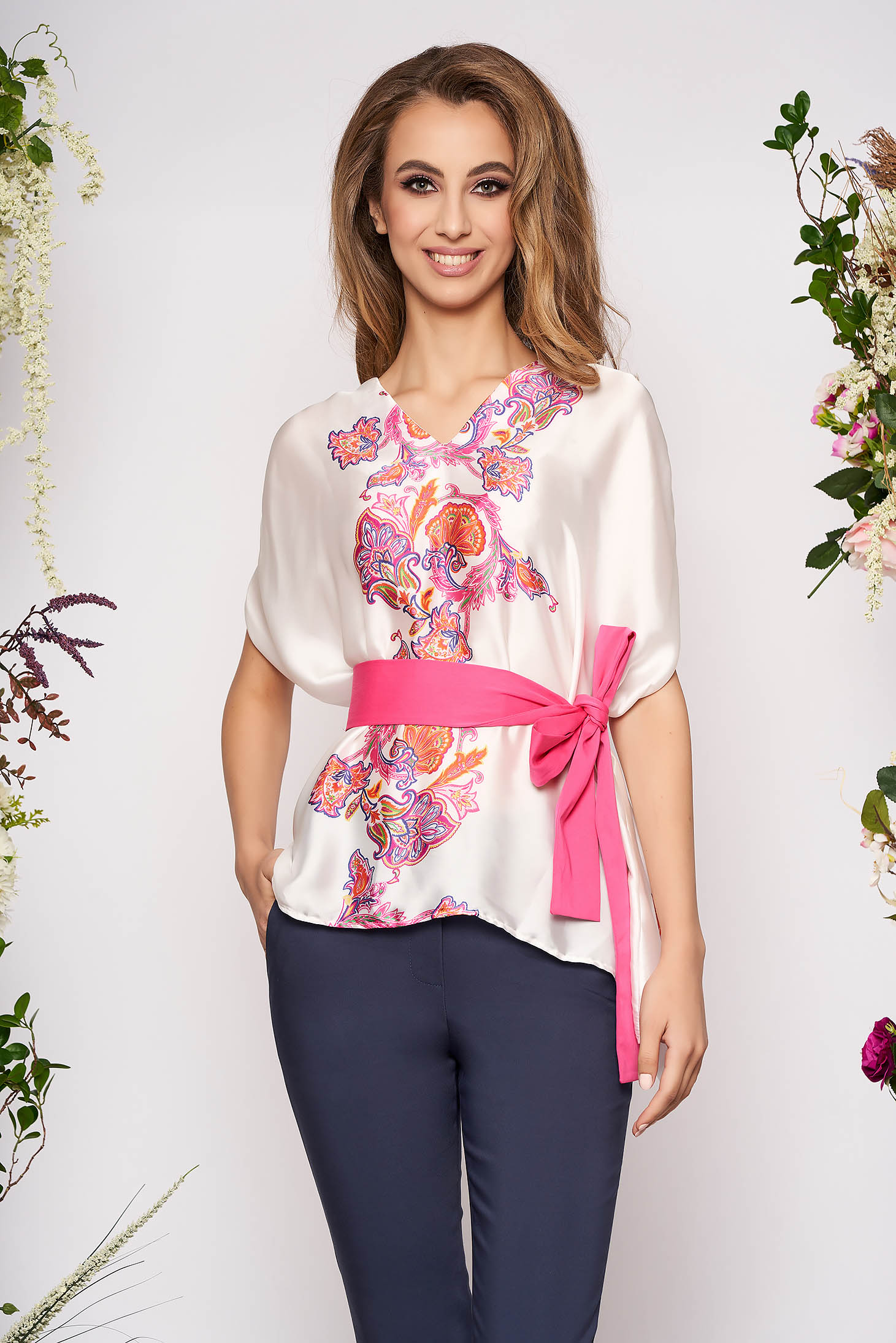 Fuchsia women`s blouse elegant flared with graphic details with v-neckline sleeveless