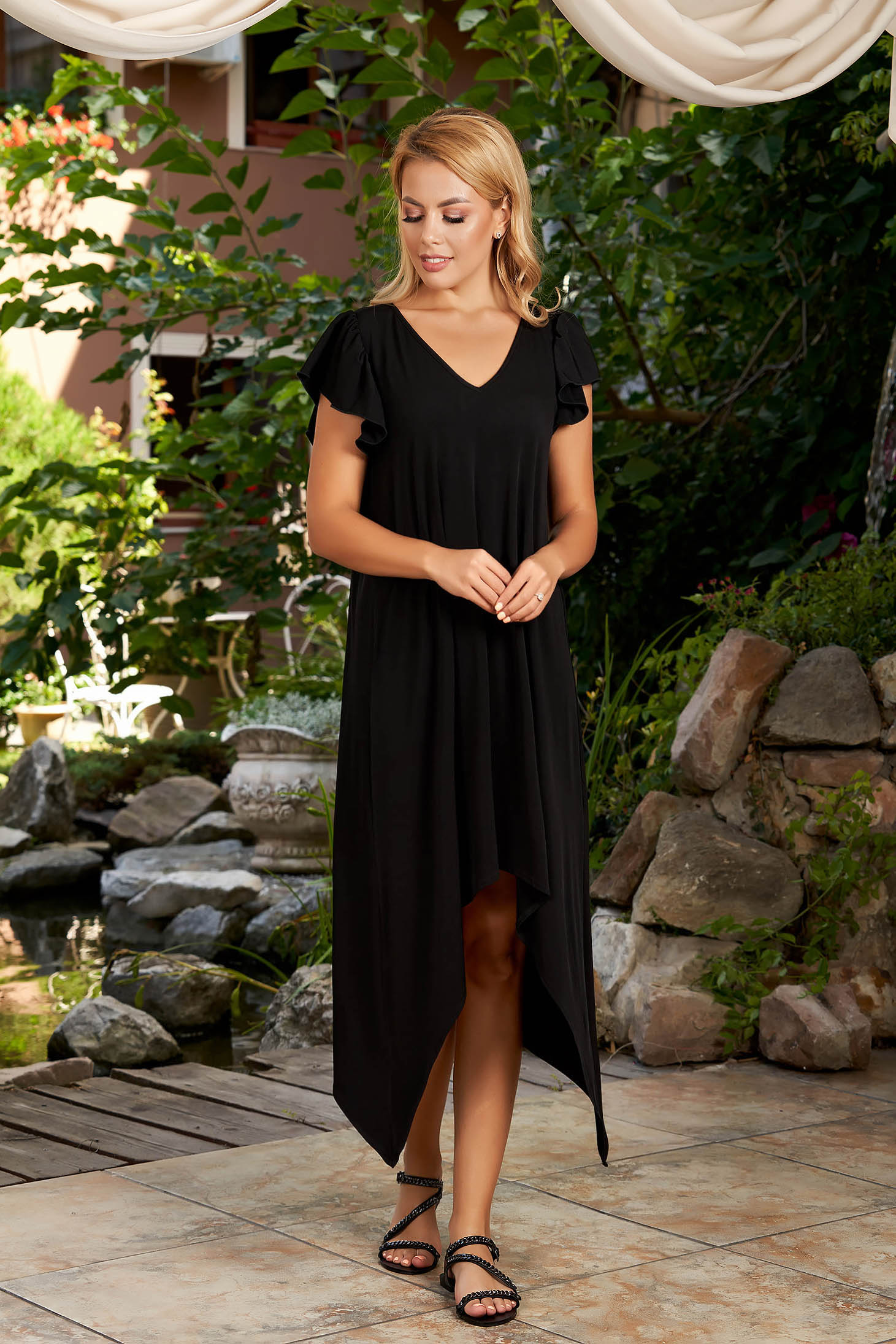 StarShinerS black dress daily asymmetrical midi flared with v-neckline with ruffled sleeves