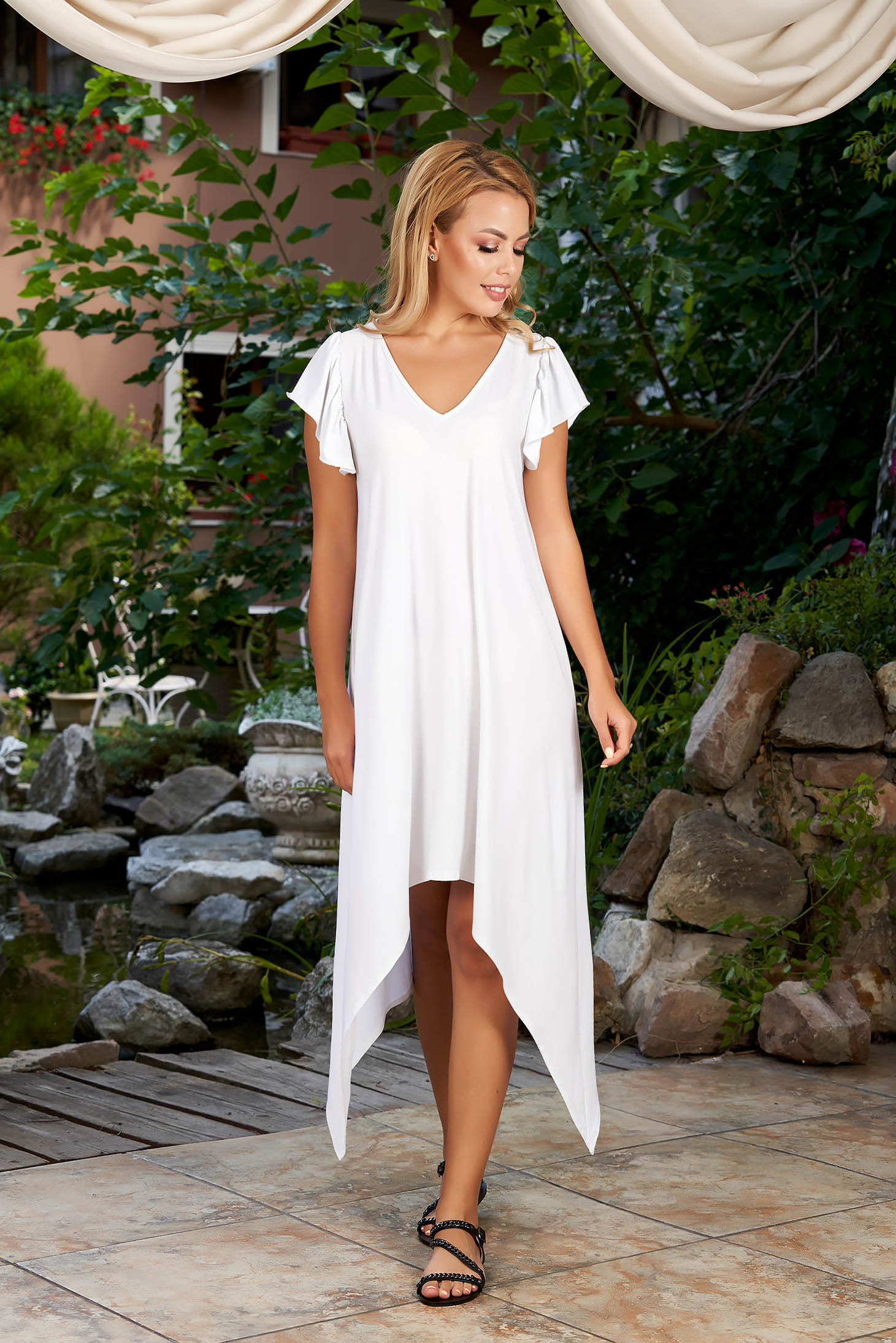 StarShinerS white dress daily asymmetrical midi flared with v-neckline with ruffled sleeves