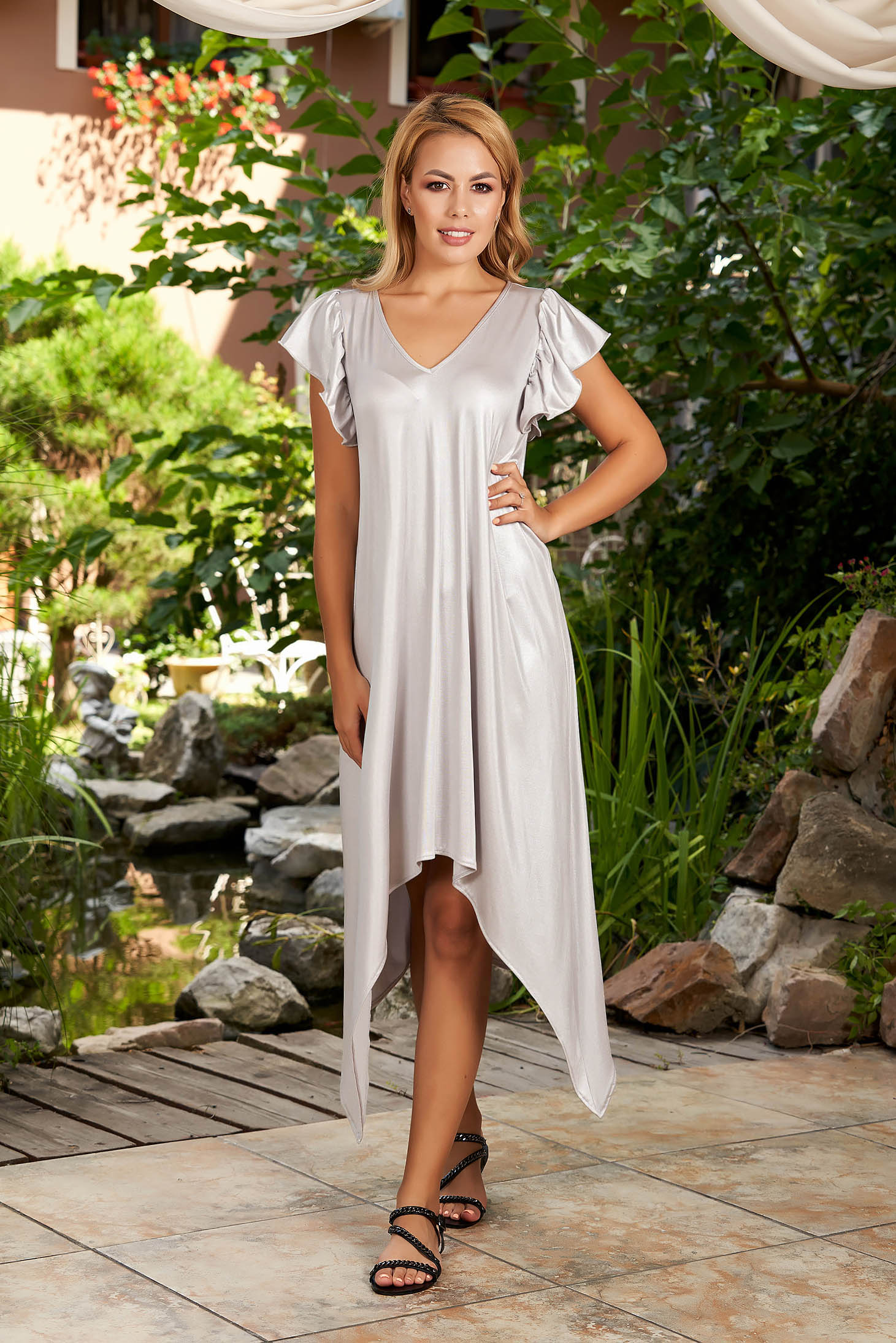 StarShinerS grey dress daily asymmetrical midi flared with v-neckline with ruffled sleeves