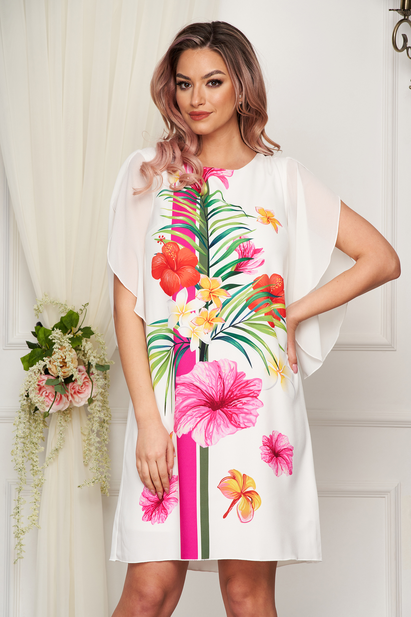 StarShinerS ivory dress elegant flared with veil sleeves slightly elastic fabric with floral prints