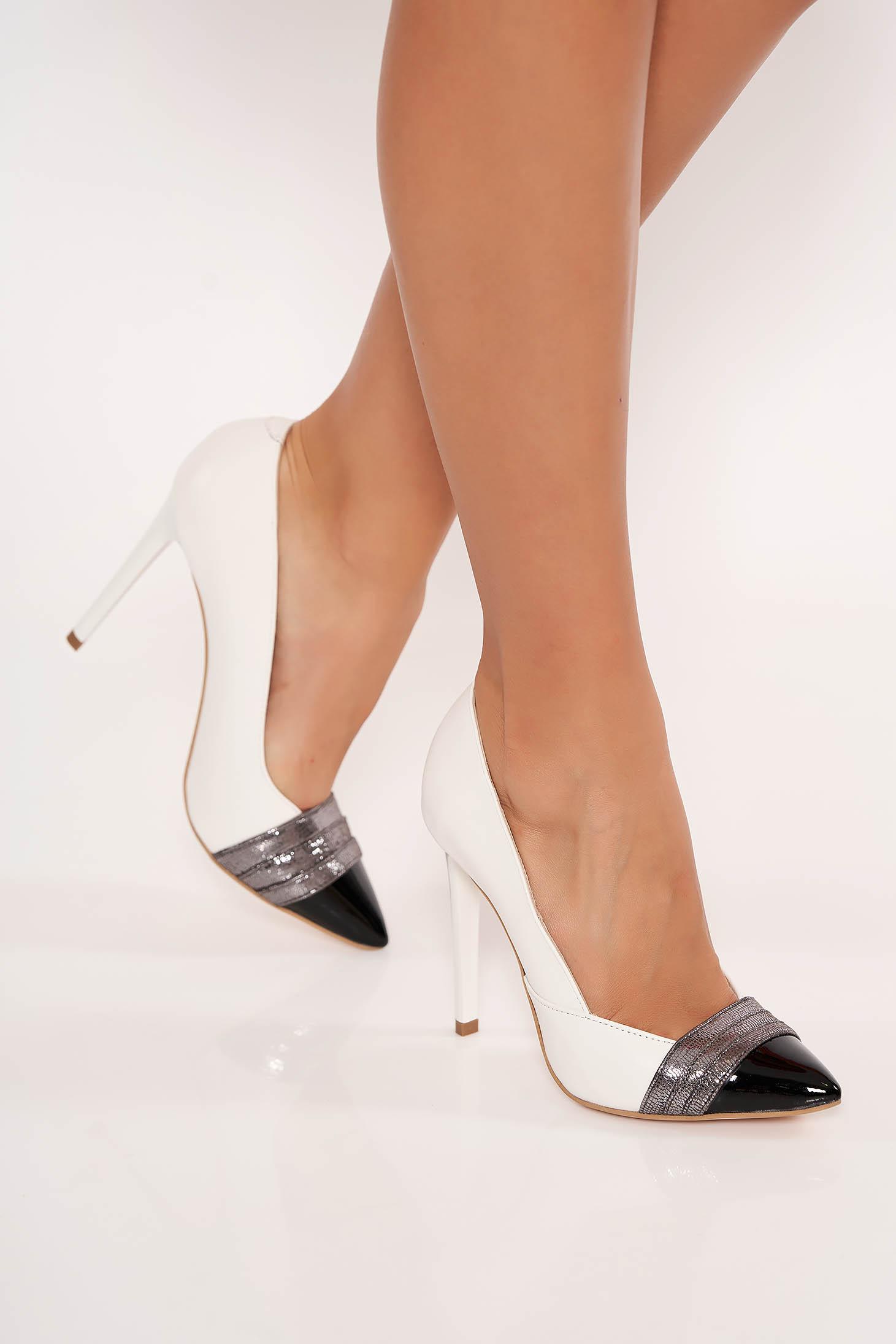 Pantofi ivoire eleganti din piele naturala cu toc inalt cu varf ascutit