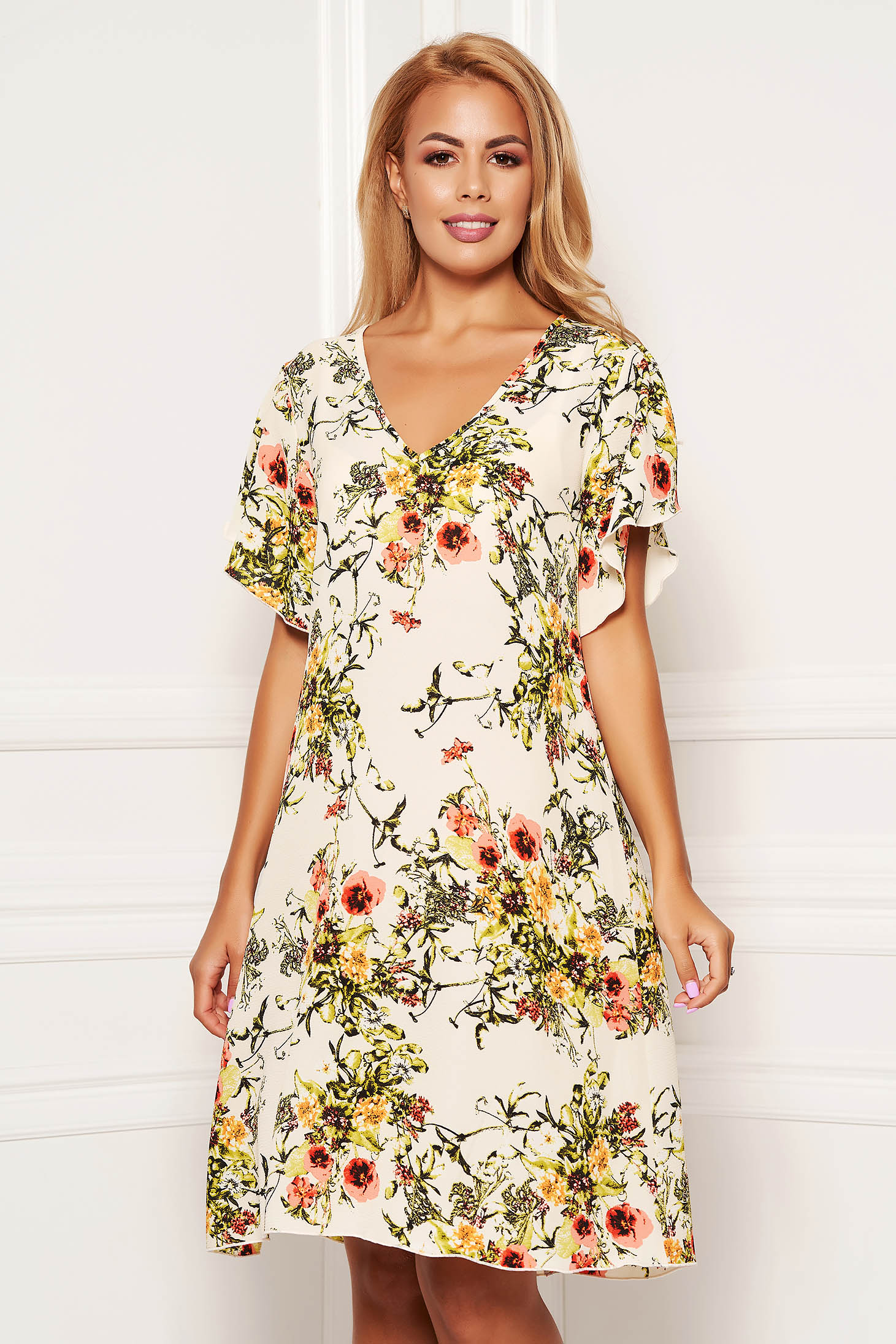 StarShinerS cream dress daily short cut a-line with floral print with butterfly sleeves