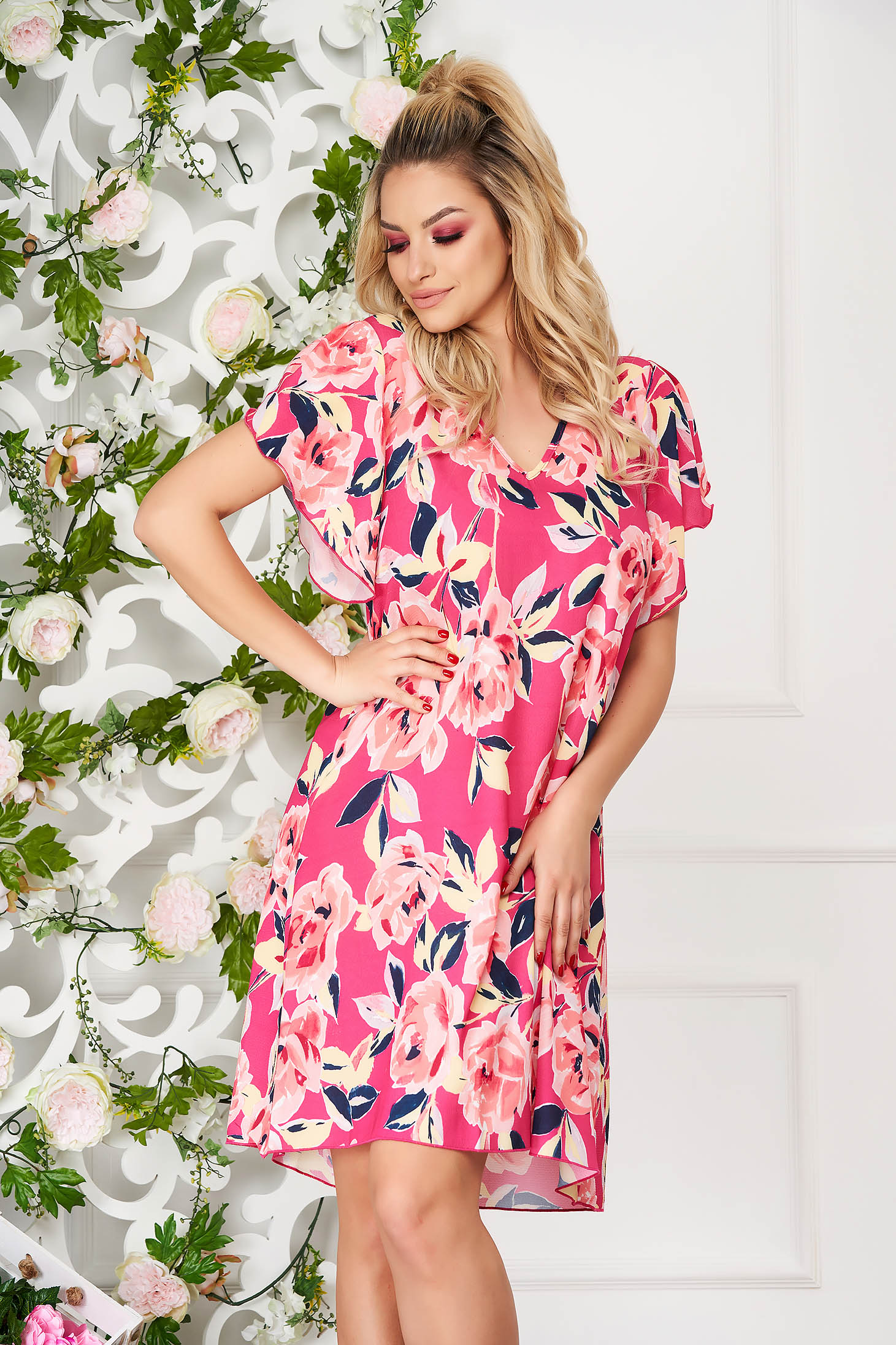 StarShinerS pink dress daily short cut a-line with floral print with butterfly sleeves
