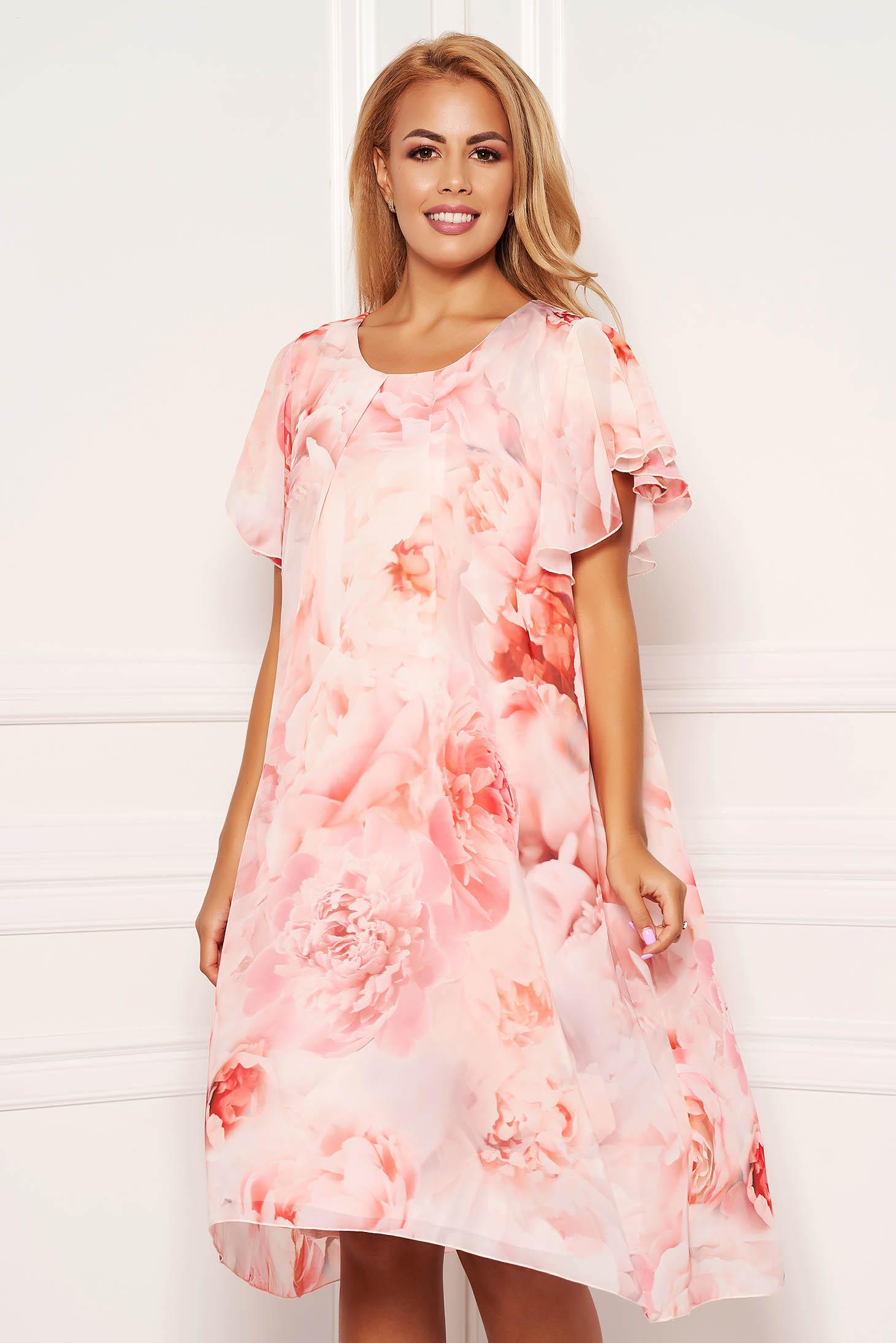 Rochie roz deschis midi de zi din voal cu decolteu rotunjit cu maneci tip fluture si imprimeu floral