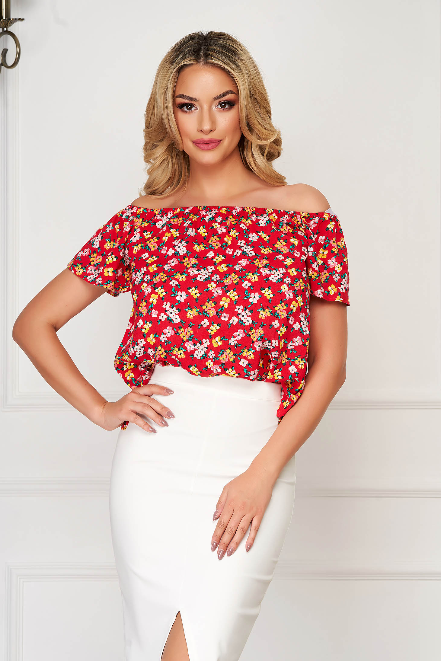 Red women`s blouse casual flared short sleeve off-shoulder soft fabric