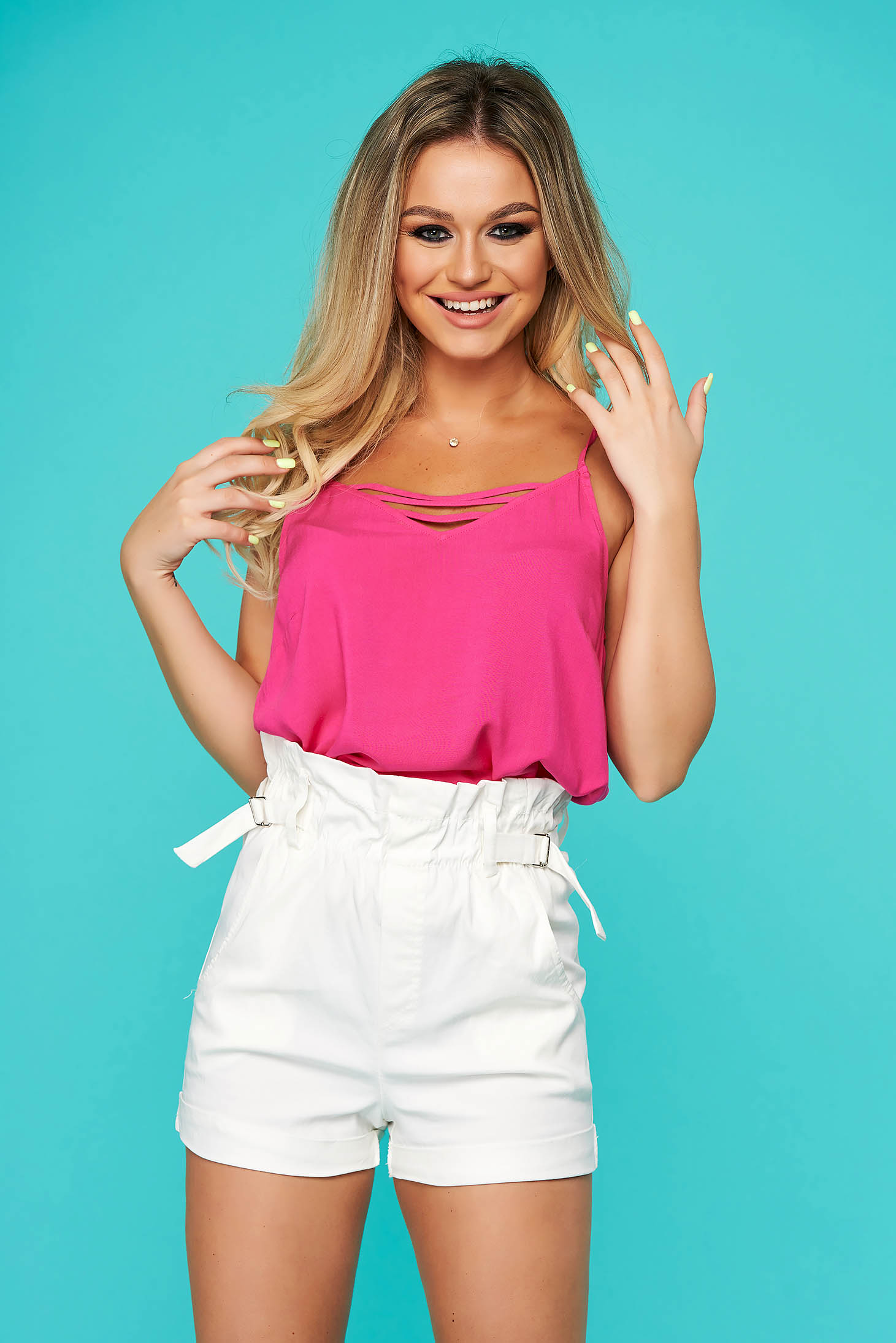 Pink women`s blouse casual flared with straps