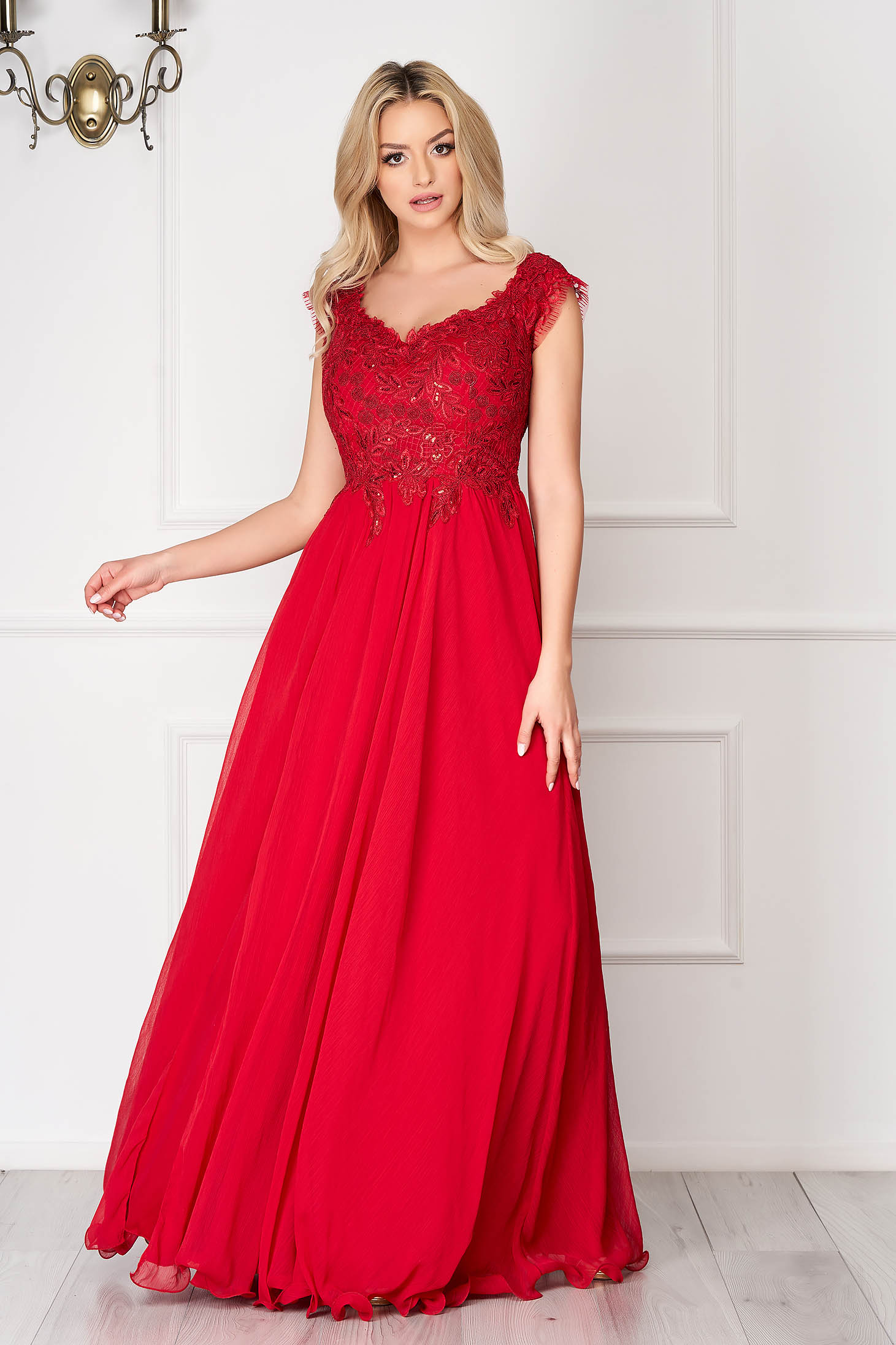 Burgundy dress long occasional cloche from veil fabric cut material lace and sequins details