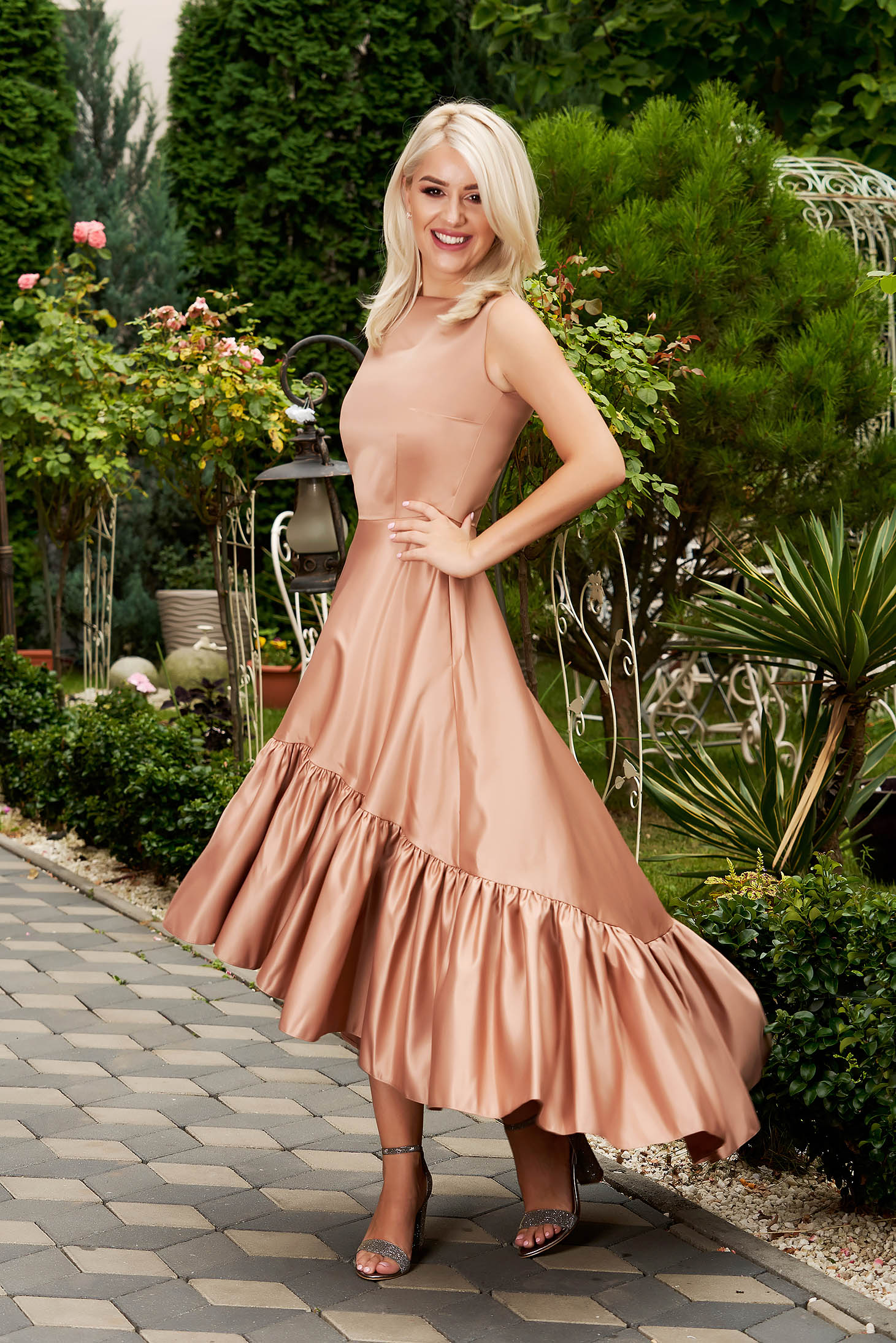 Cream dress elegant occasional midi asymmetrical from satin with pockets sleeveless