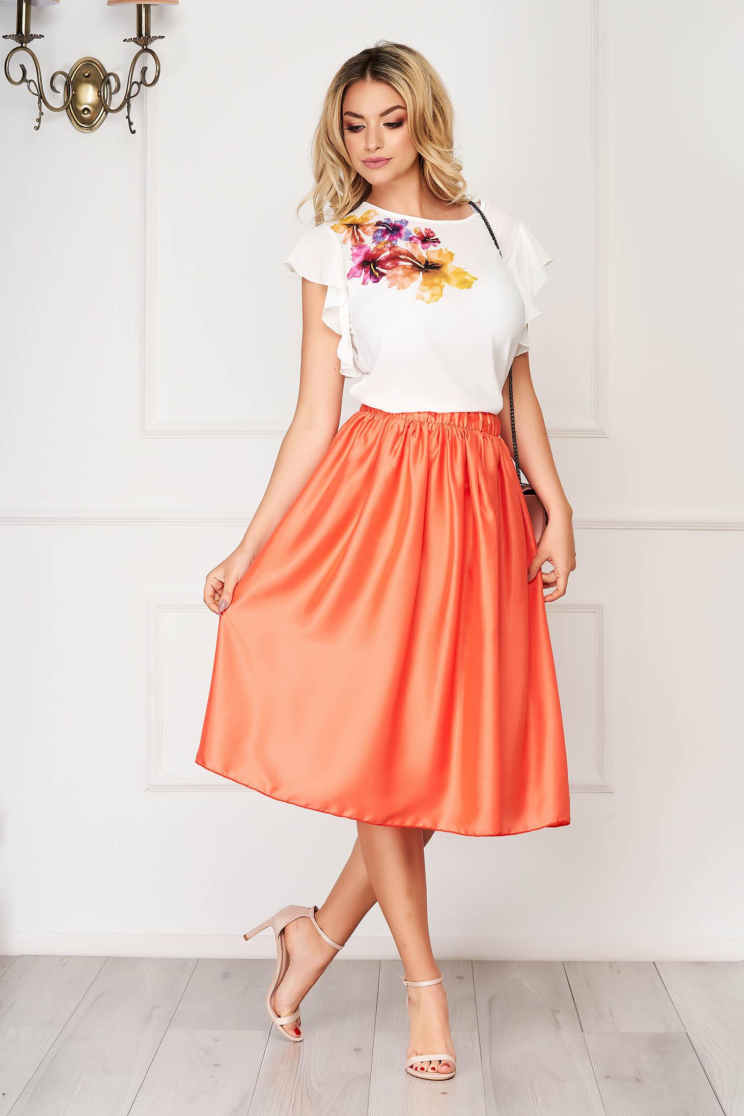 Set StarShinerS portocaliu elegant din 2 piese cu fusta in clos si imprimeu customizat