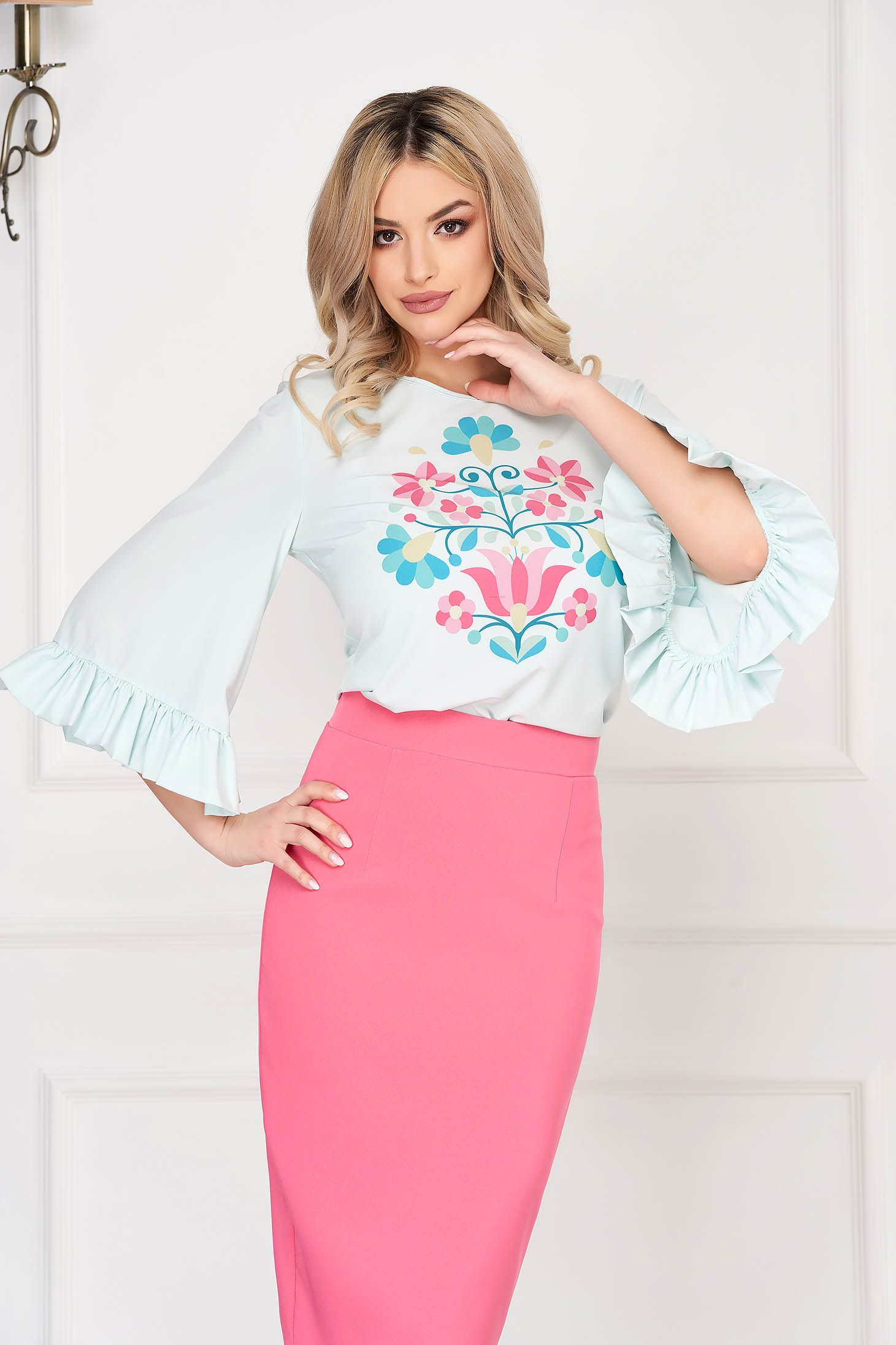 StarShinerS mint women`s blouse elegant with floral print with ruffled sleeves