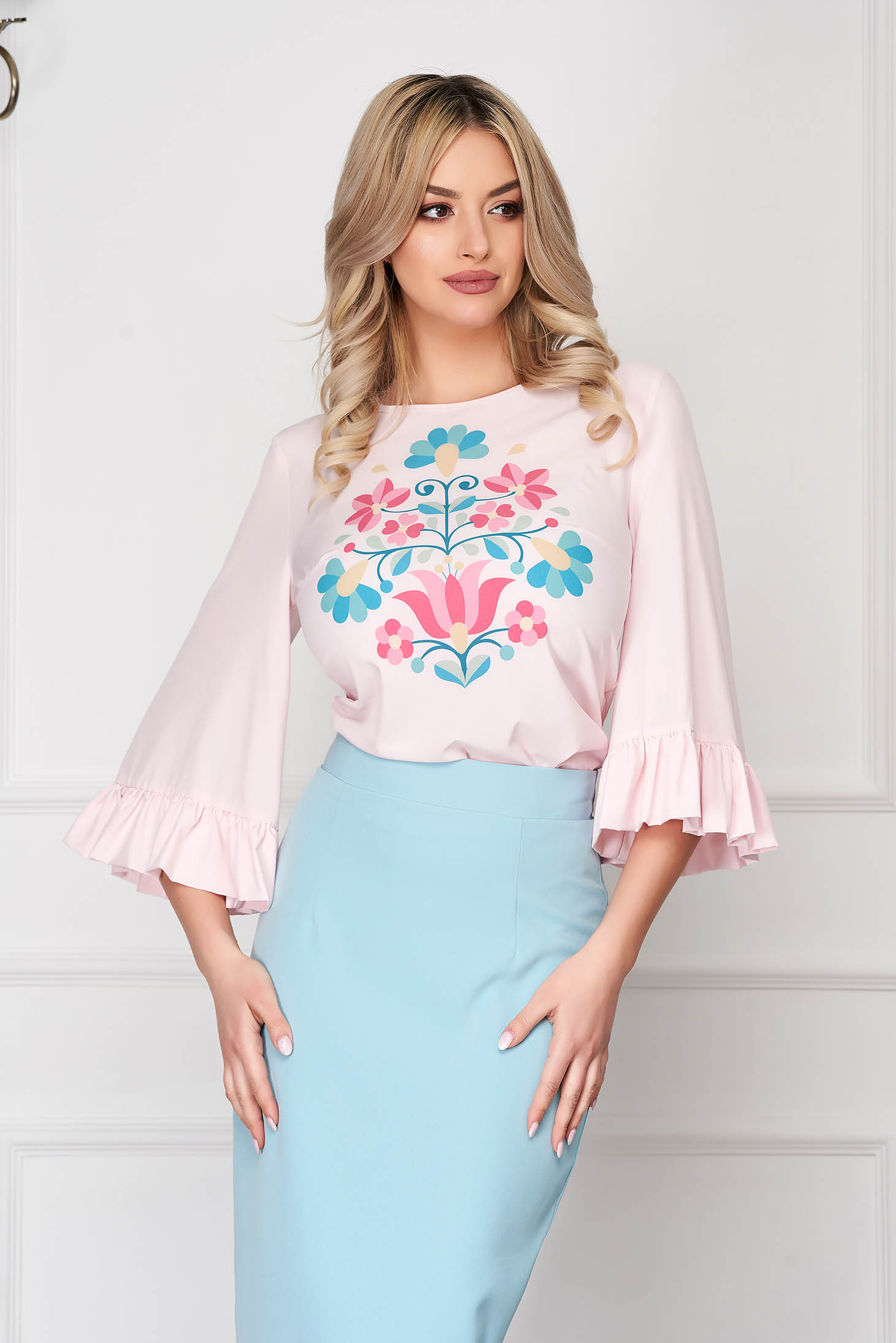 StarShinerS lightpink women`s blouse elegant with floral print with ruffled sleeves