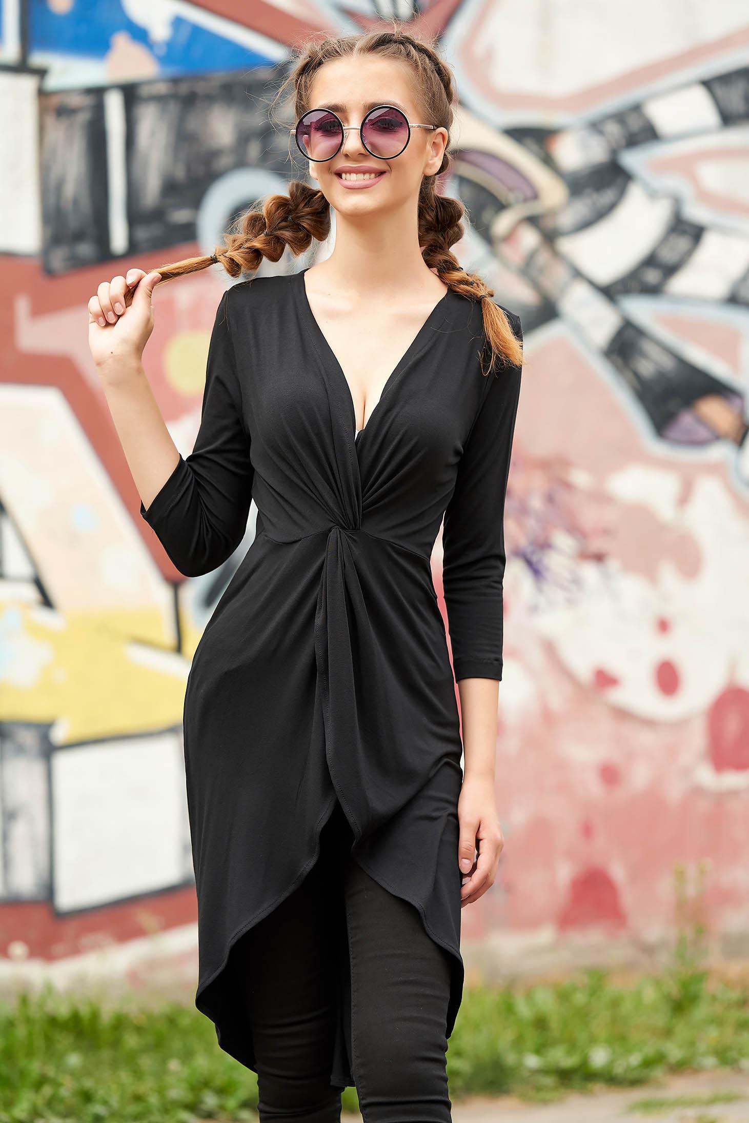 Bluza dama StarShinerS neagra petrecuta casual asimetrica cu decolteu adanc si maneci trei-sferturi