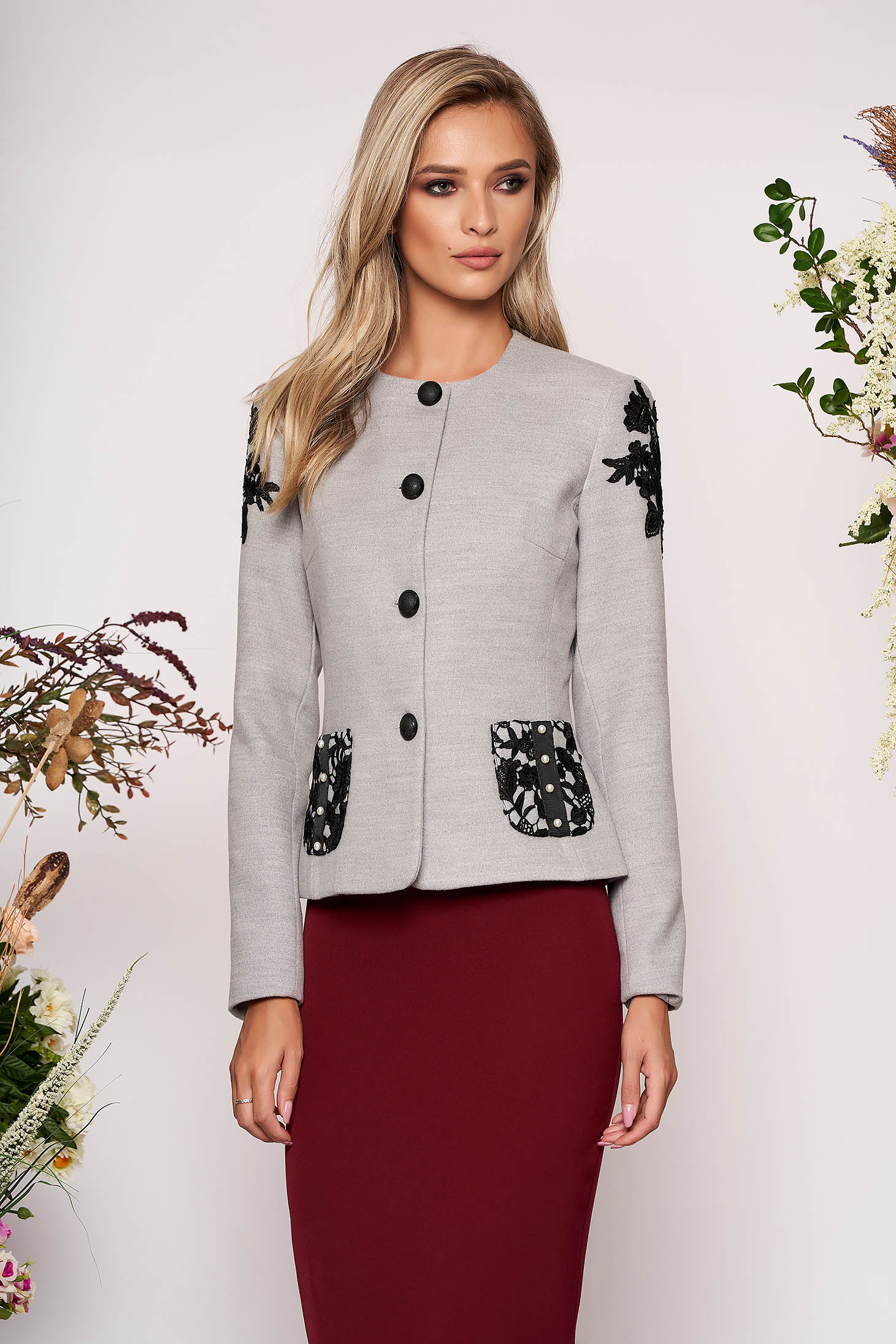 Grey jacket occasional short cut tented long sleeve thick fabric with lace details with pearls