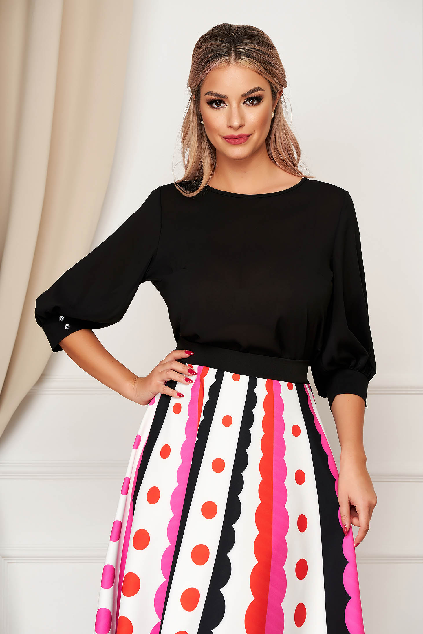 StarShinerS office airy fabric flared black women`s blouse with 3/4 sleeves