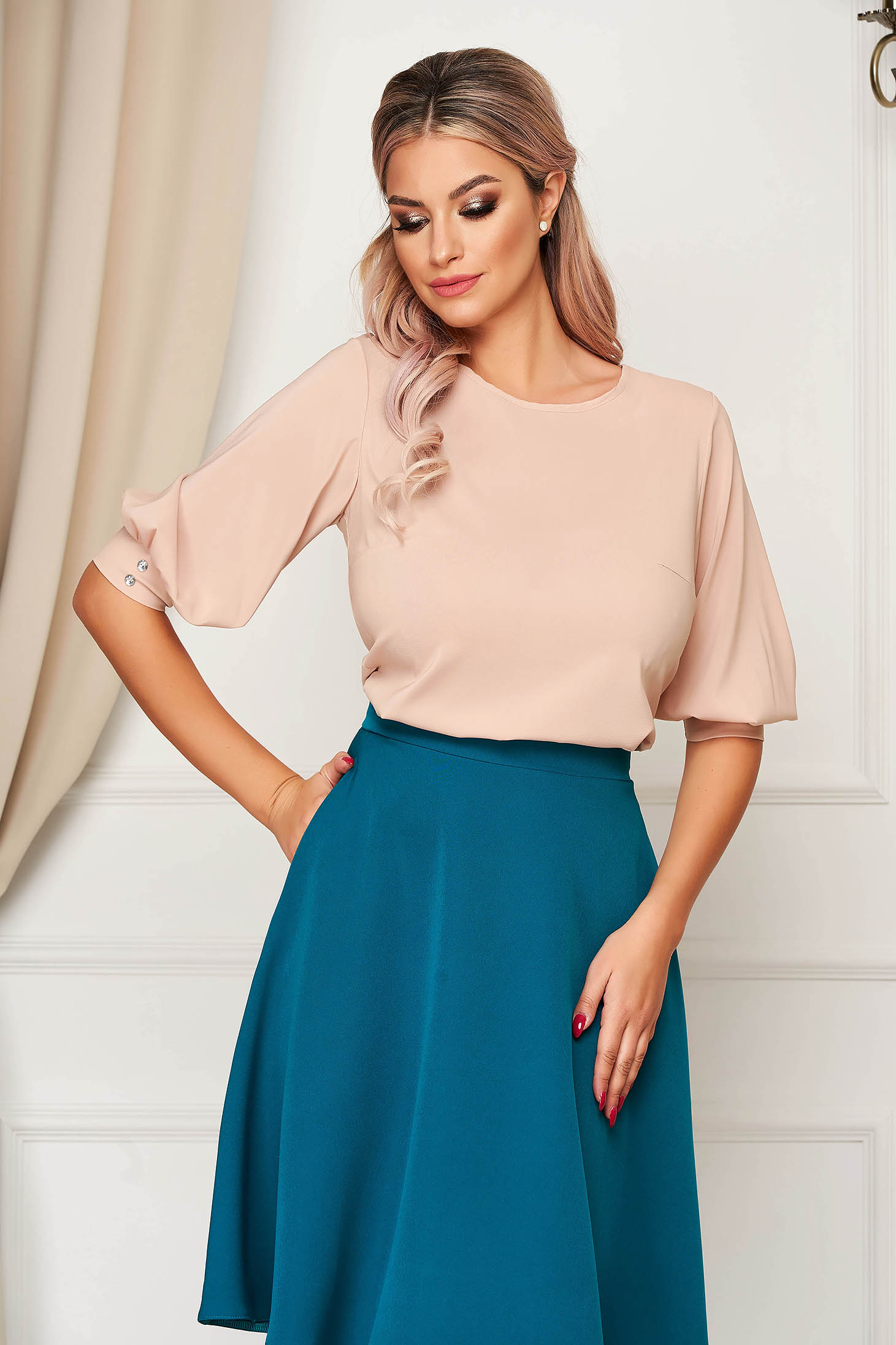 StarShinerS office airy fabric flared cream women`s blouse with 3/4 sleeves